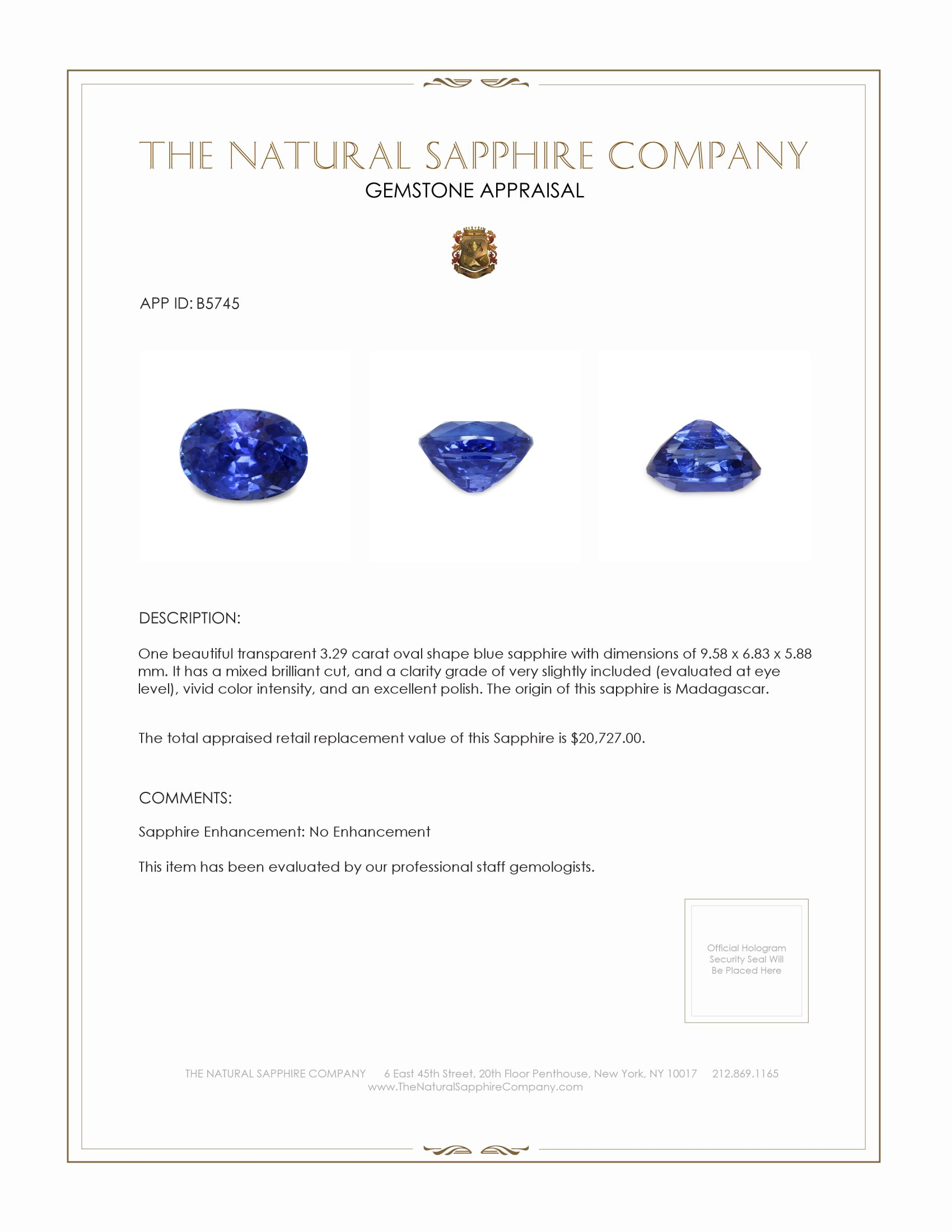 Natural Untreated Blue Sapphire B5745 Certification 4
