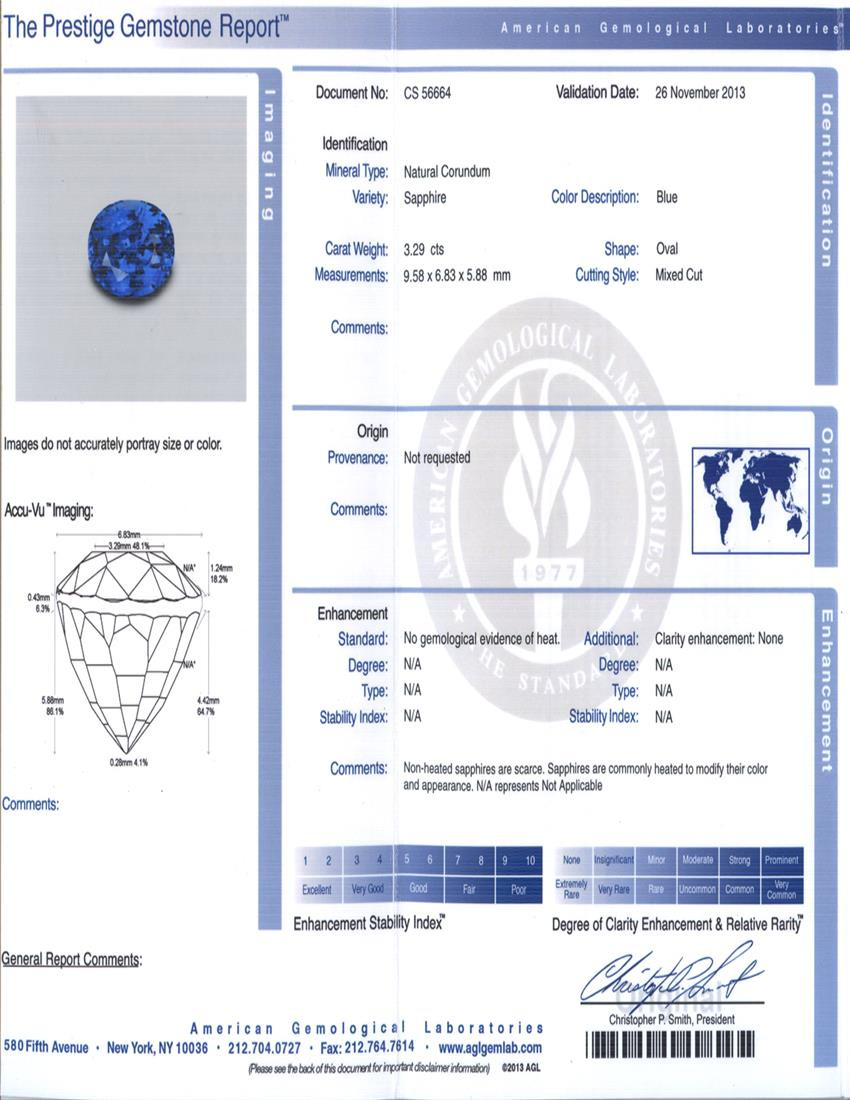 Natural Untreated Blue Sapphire B5745 Certification 3