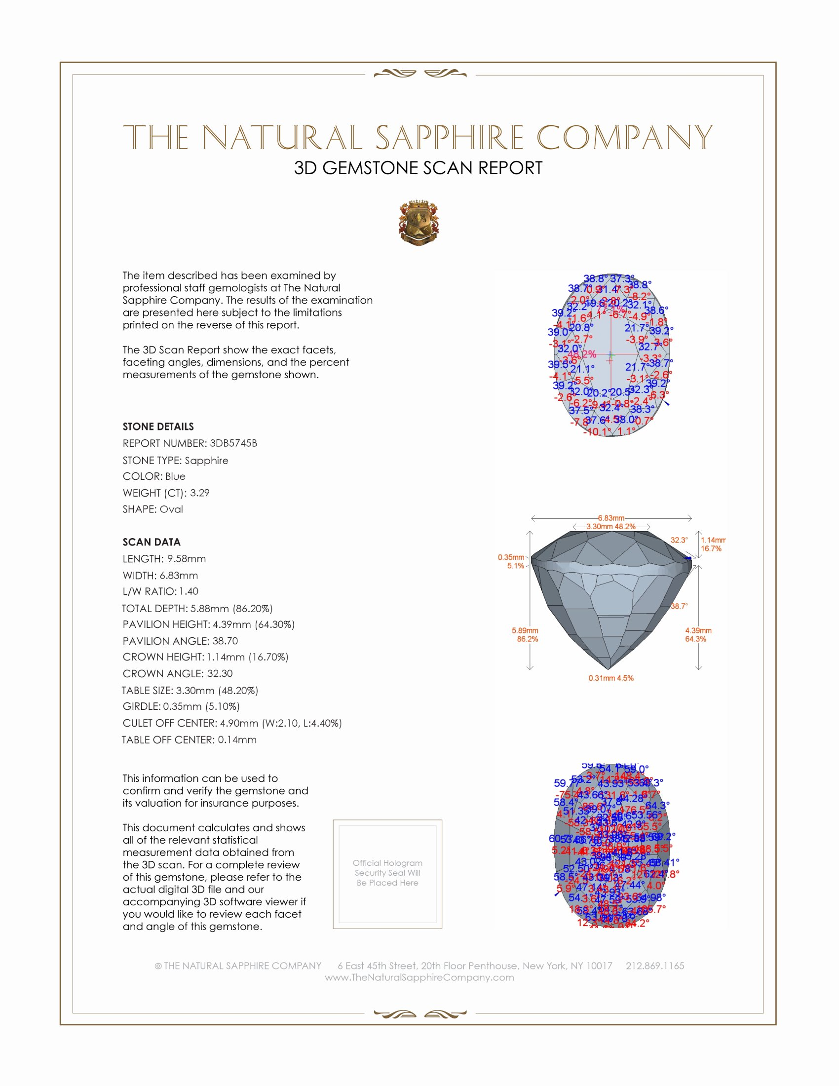 Natural Untreated Blue Sapphire B5745 Certification 2