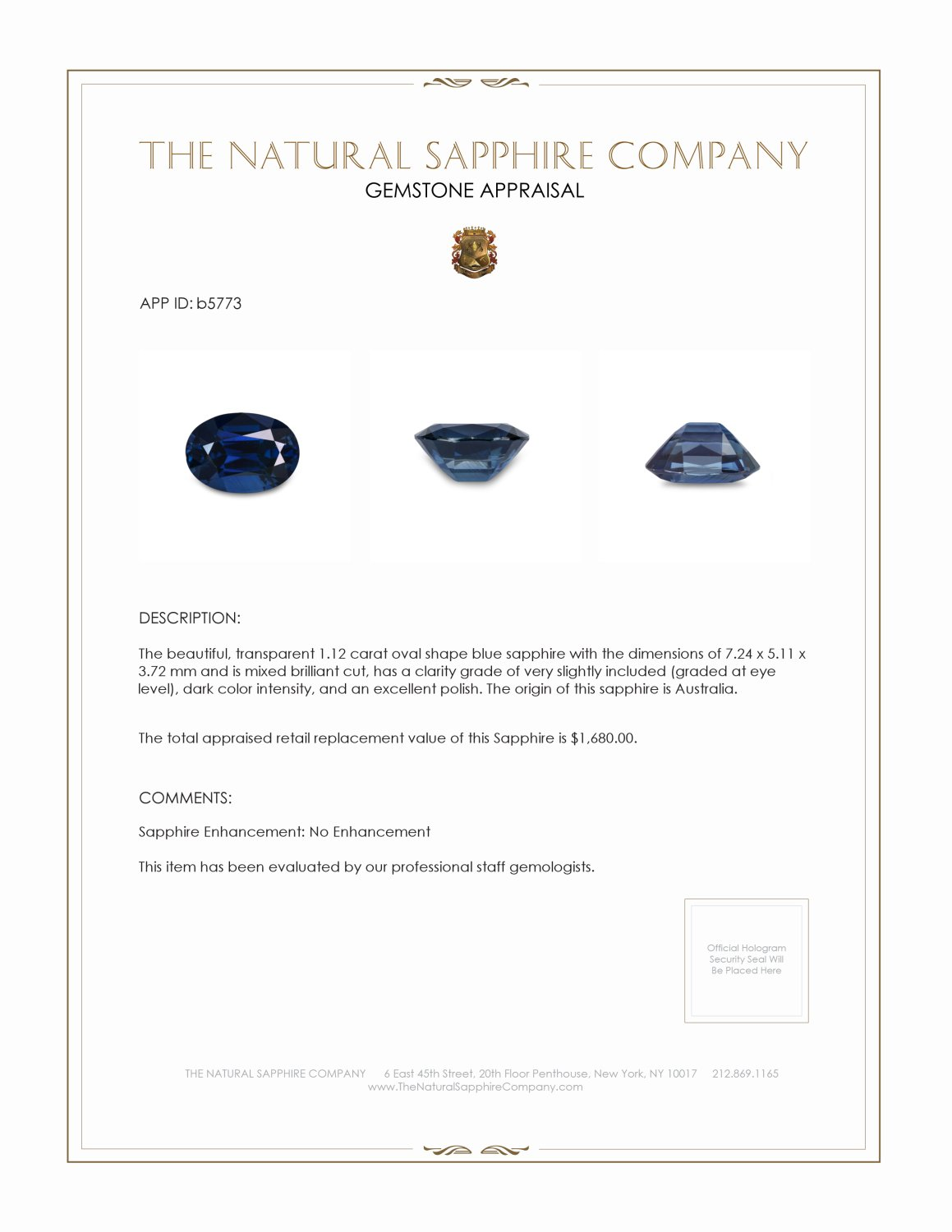 Natural Untreated Blue Sapphire B5773 Certification 3