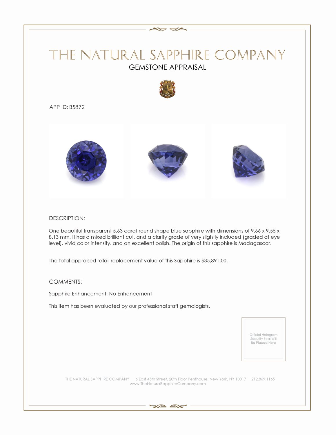 Natural Untreated Blue Sapphire B5872 Certification 4
