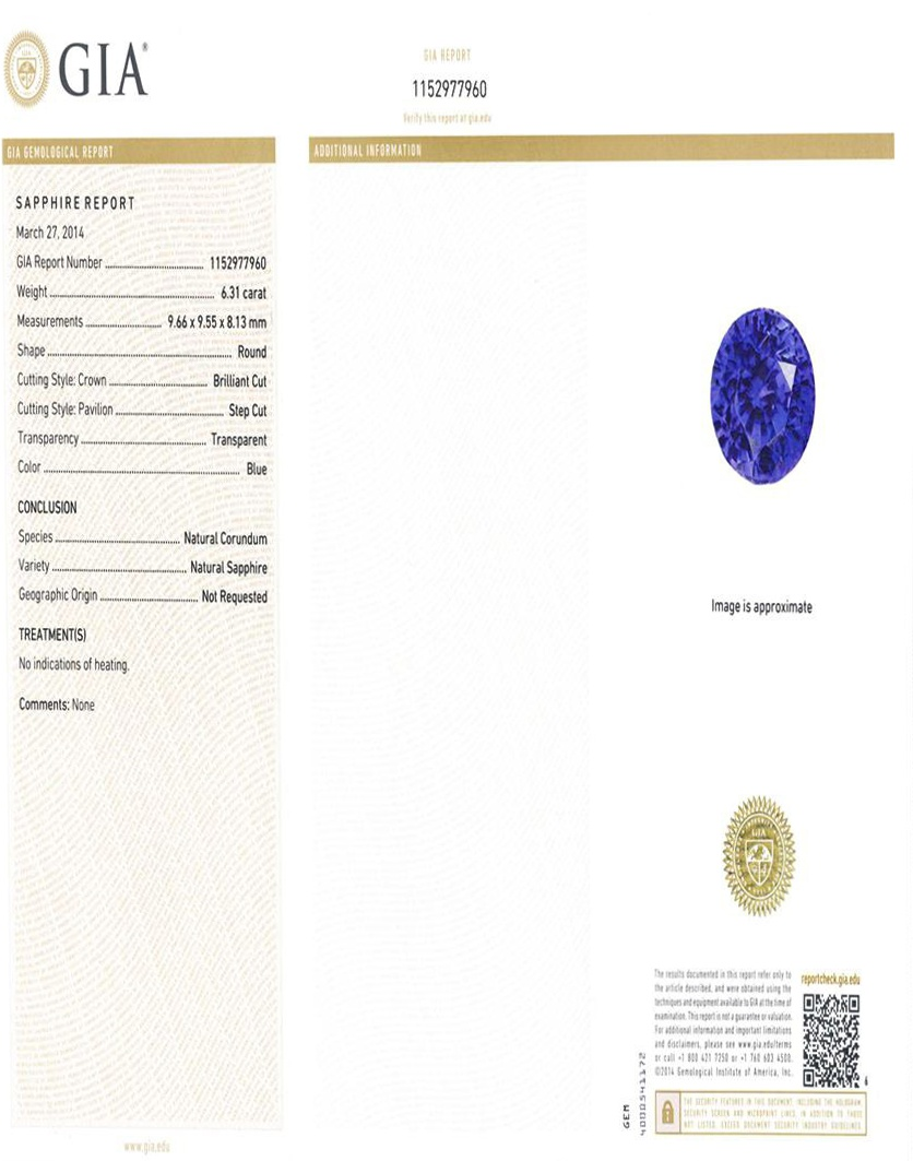 Natural Untreated Blue Sapphire B5872 Certification 3