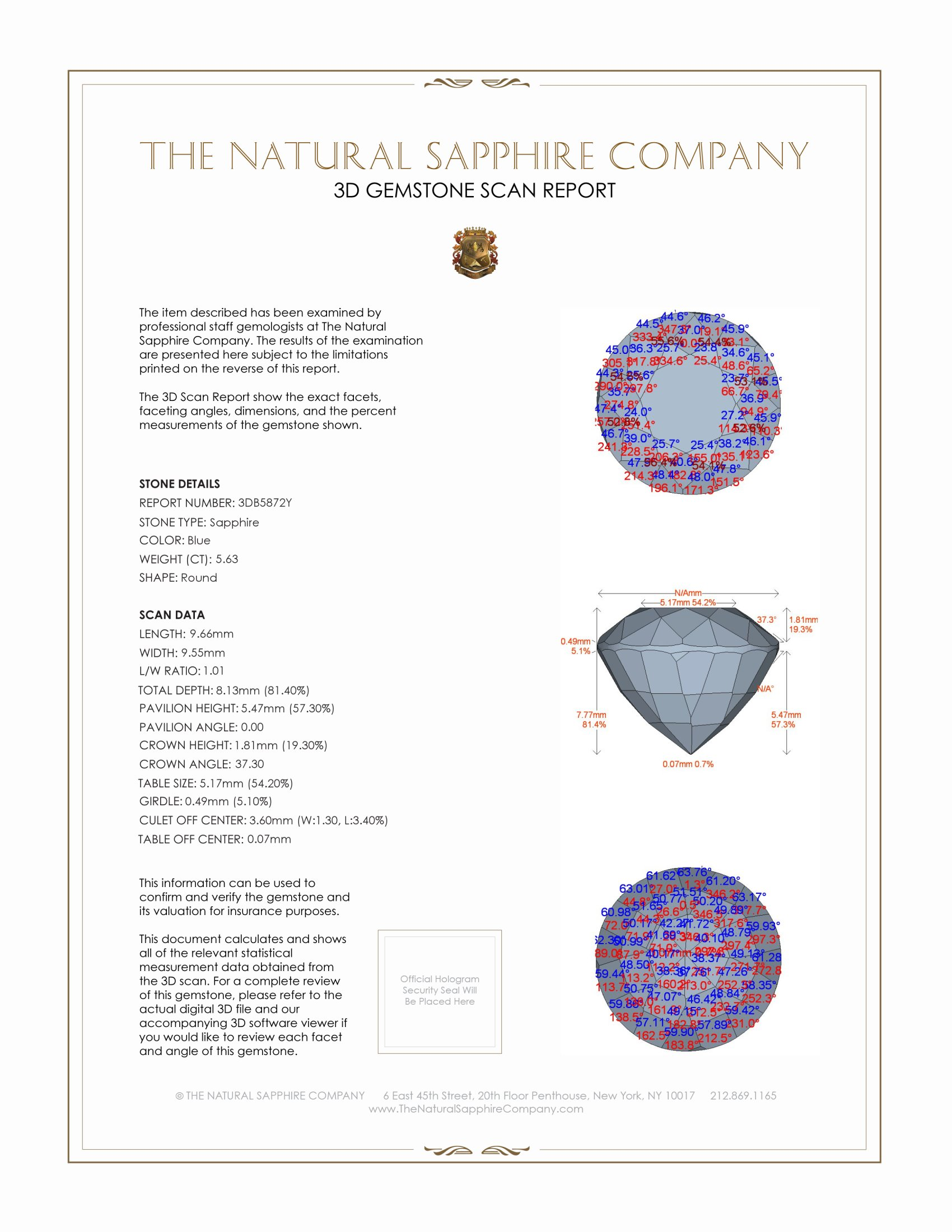 Natural Untreated Blue Sapphire B5872 Certification 2