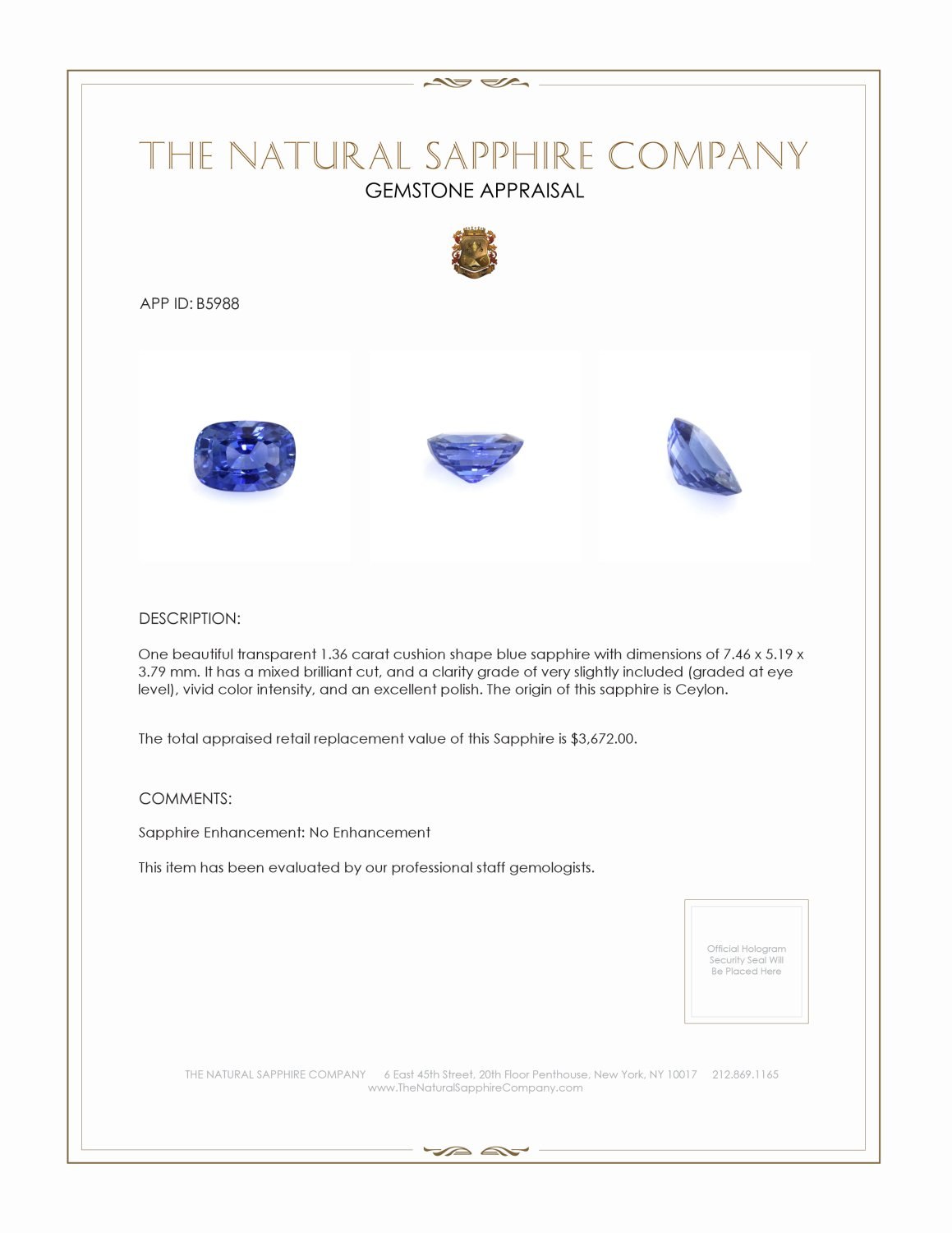 Natural Untreated Blue Sapphire B5988 Certification 4