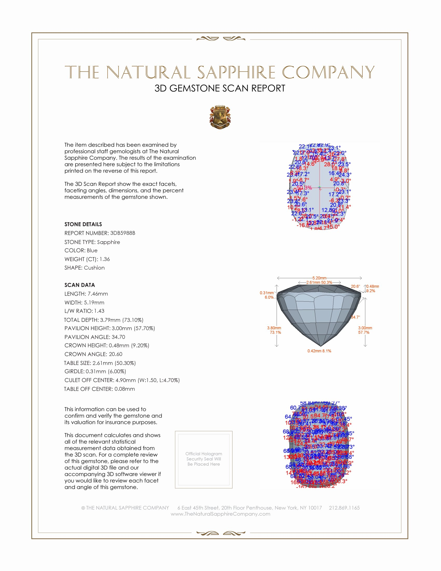 Natural Untreated Blue Sapphire B5988 Certification 2