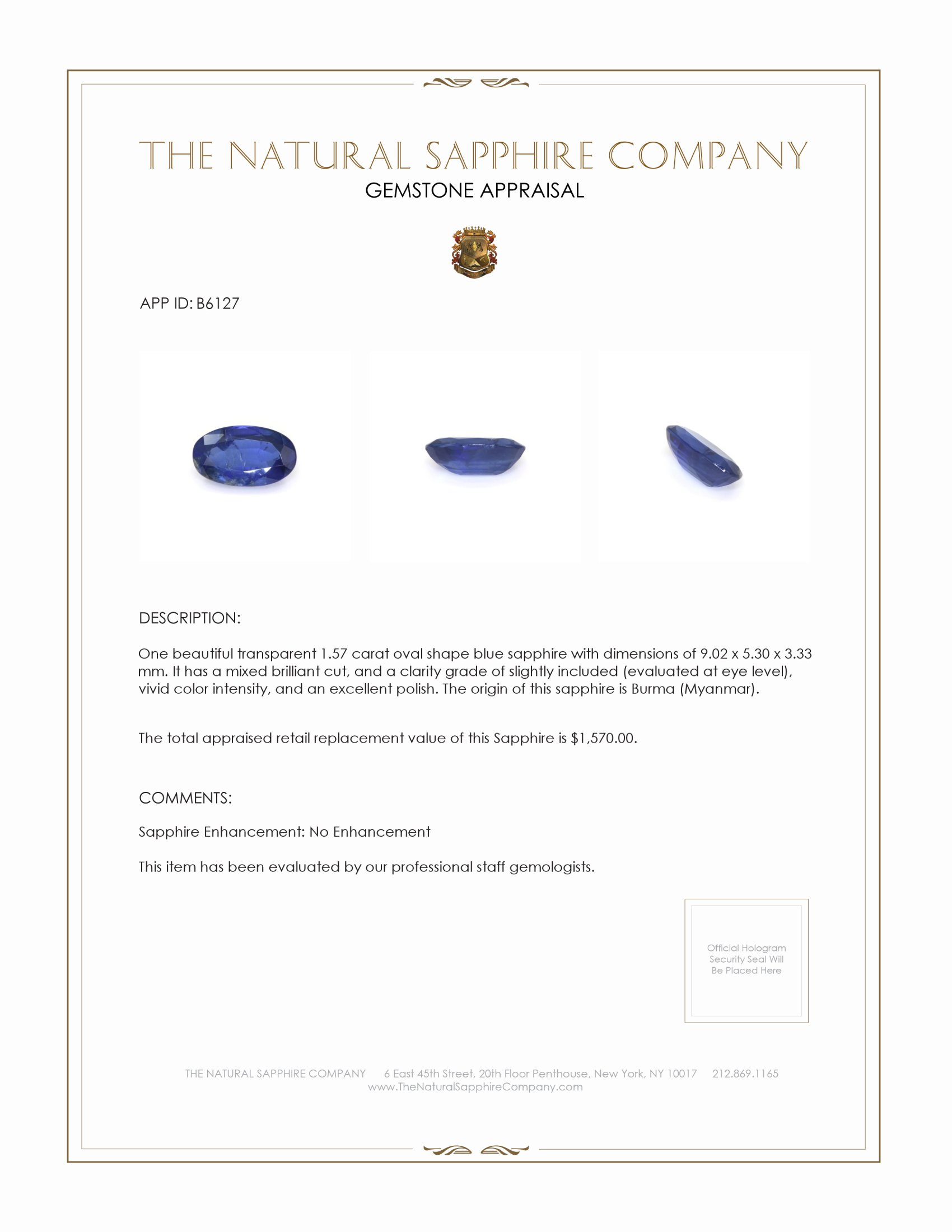 Natural Untreated Blue Sapphire B6127 Certification 4