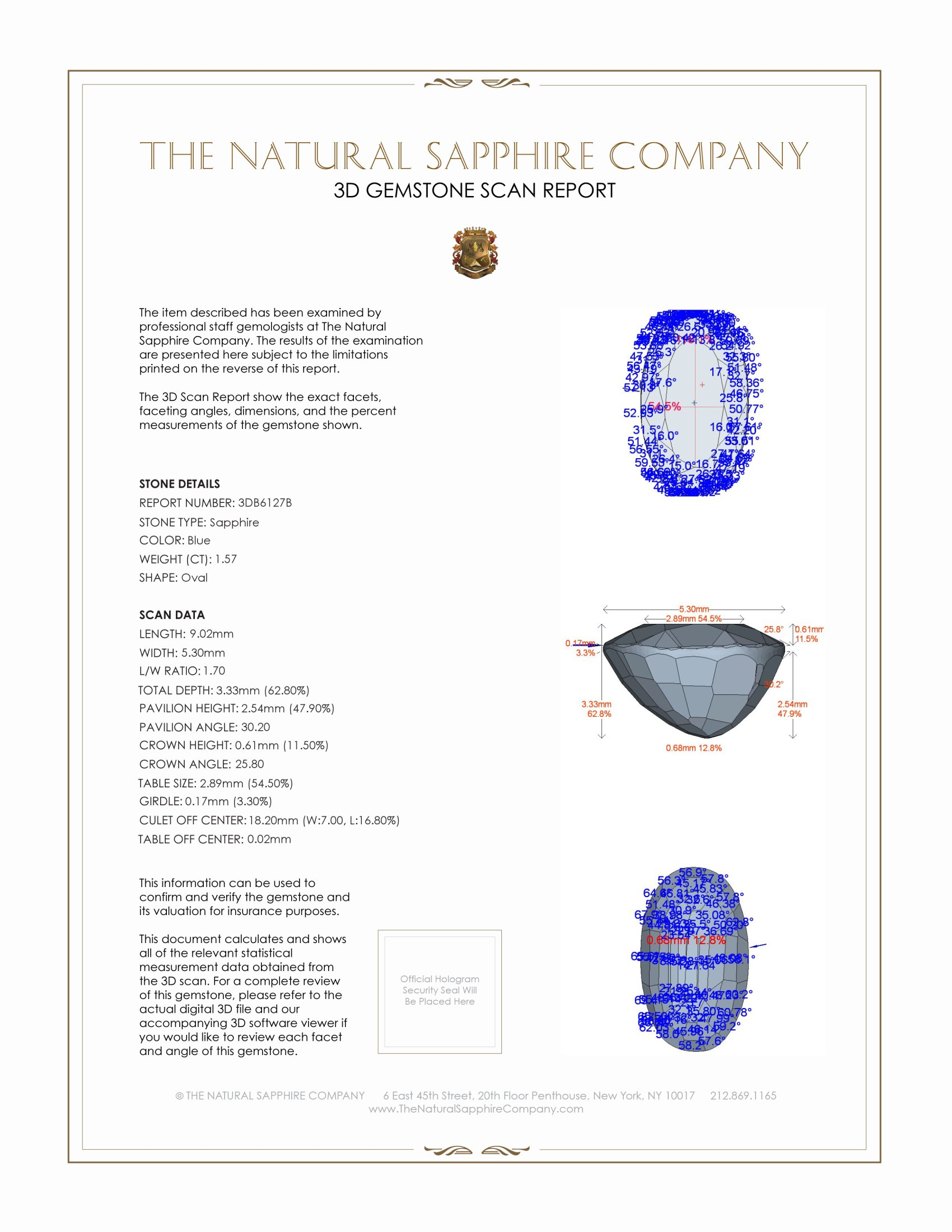 Natural Untreated Blue Sapphire B6127 Certification 2