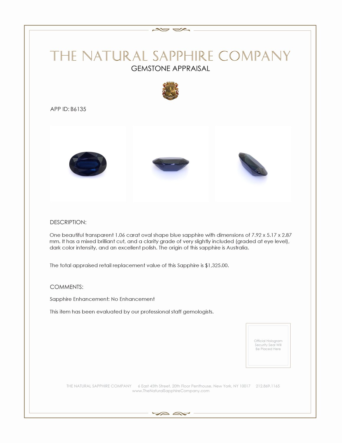 Natural Untreated Blue Sapphire B6135 Certification 3