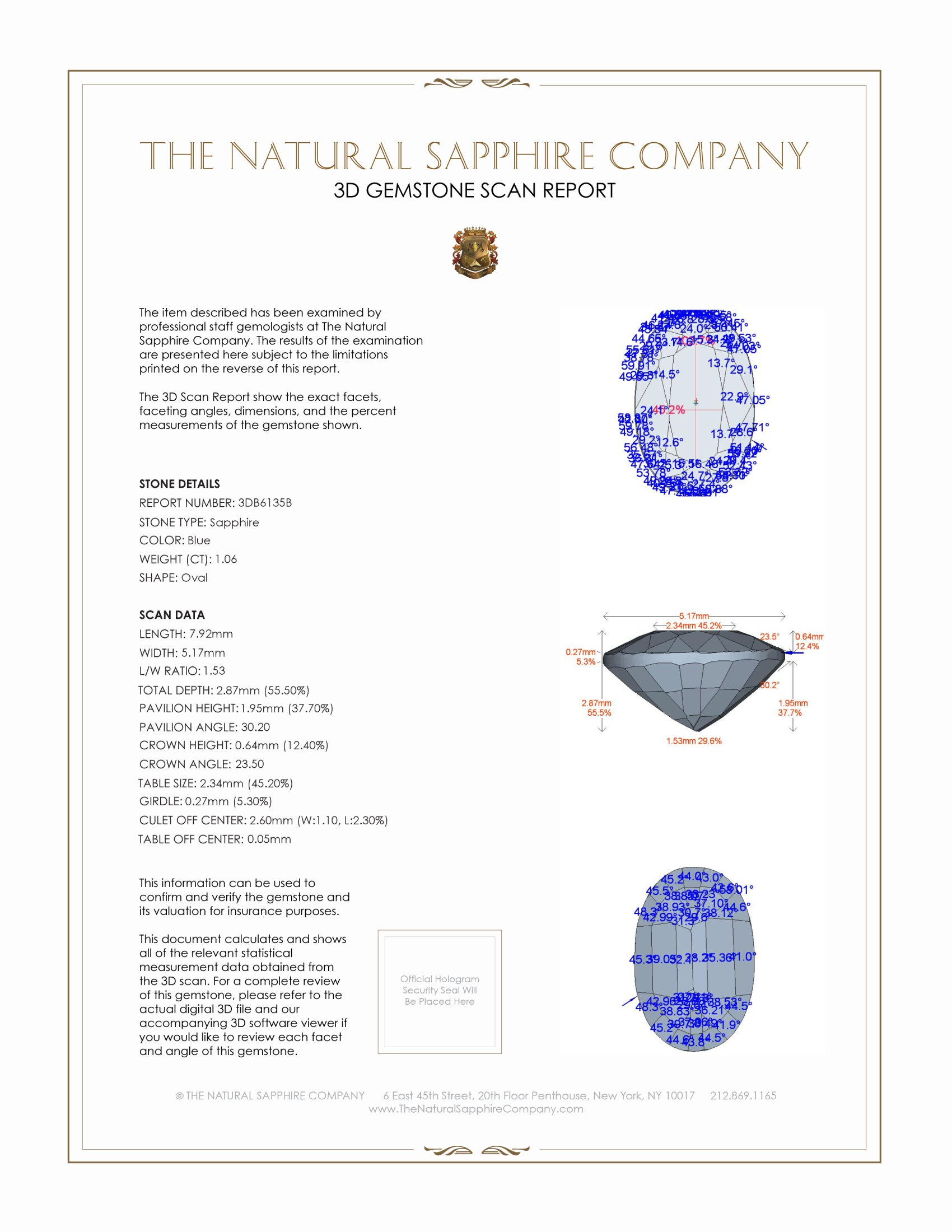 Natural Untreated Blue Sapphire B6135 Certification 2