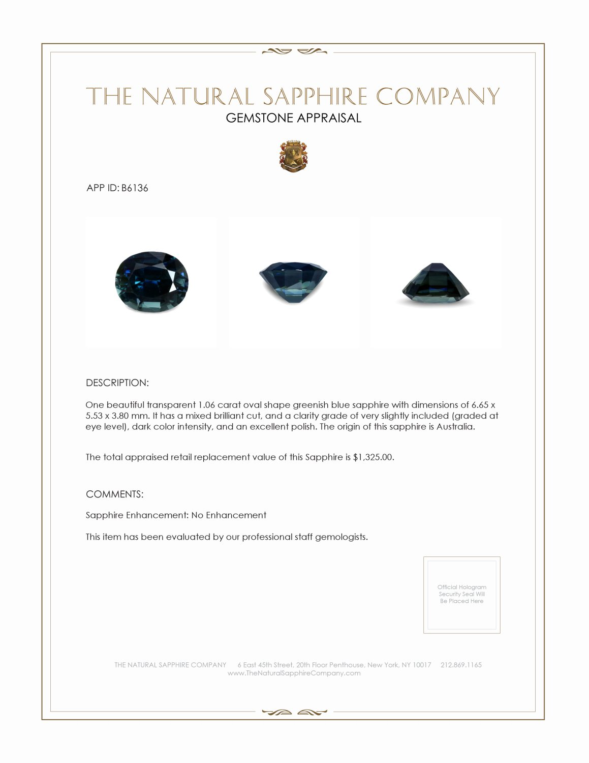 Natural Untreated Blue Sapphire B6136 Certification 3