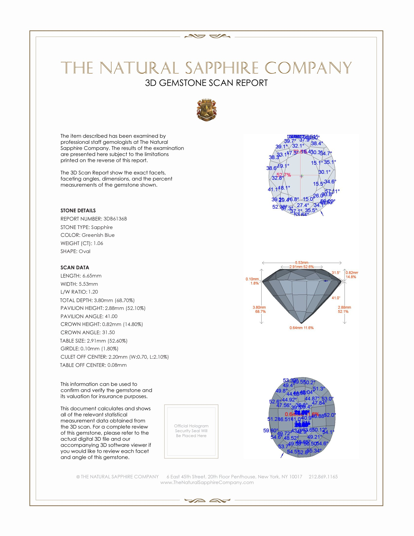 Natural Untreated Blue Sapphire B6136 Certification 2