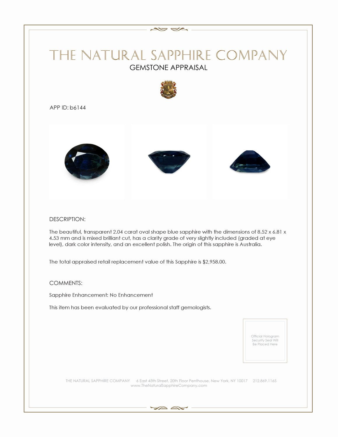 Natural Untreated Blue Sapphire B6144 Certification