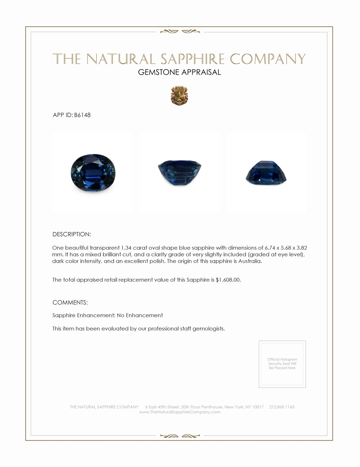 Natural Untreated Blue Sapphire B6148 Certification 3