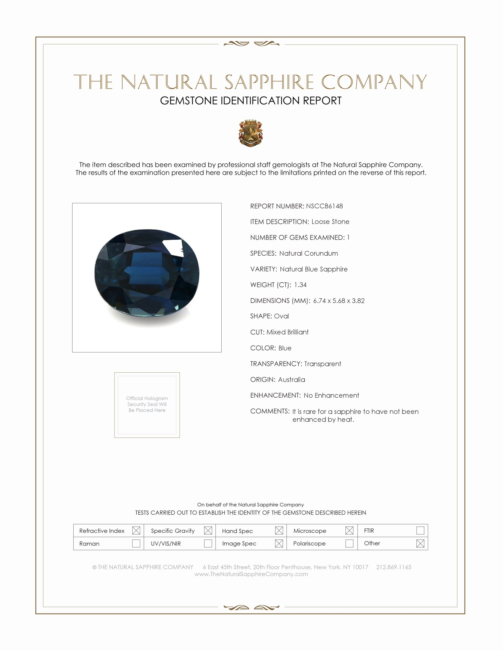 Natural Untreated Blue Sapphire B6148 Certification