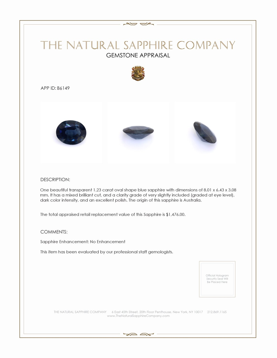 Natural Untreated Blue Sapphire B6149 Certification 3