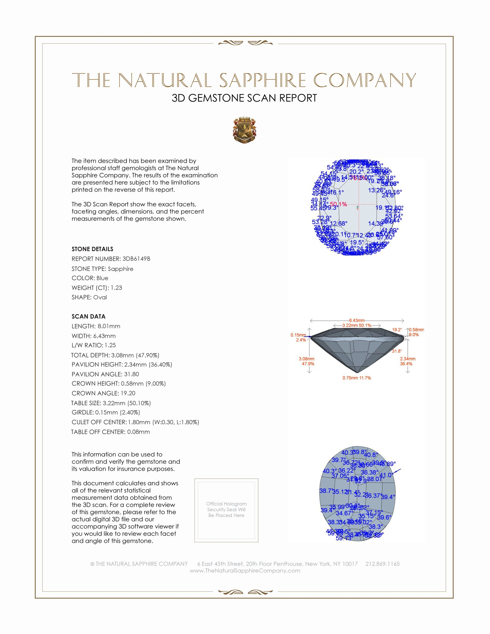 Natural Untreated Blue Sapphire B6149 Certification 2