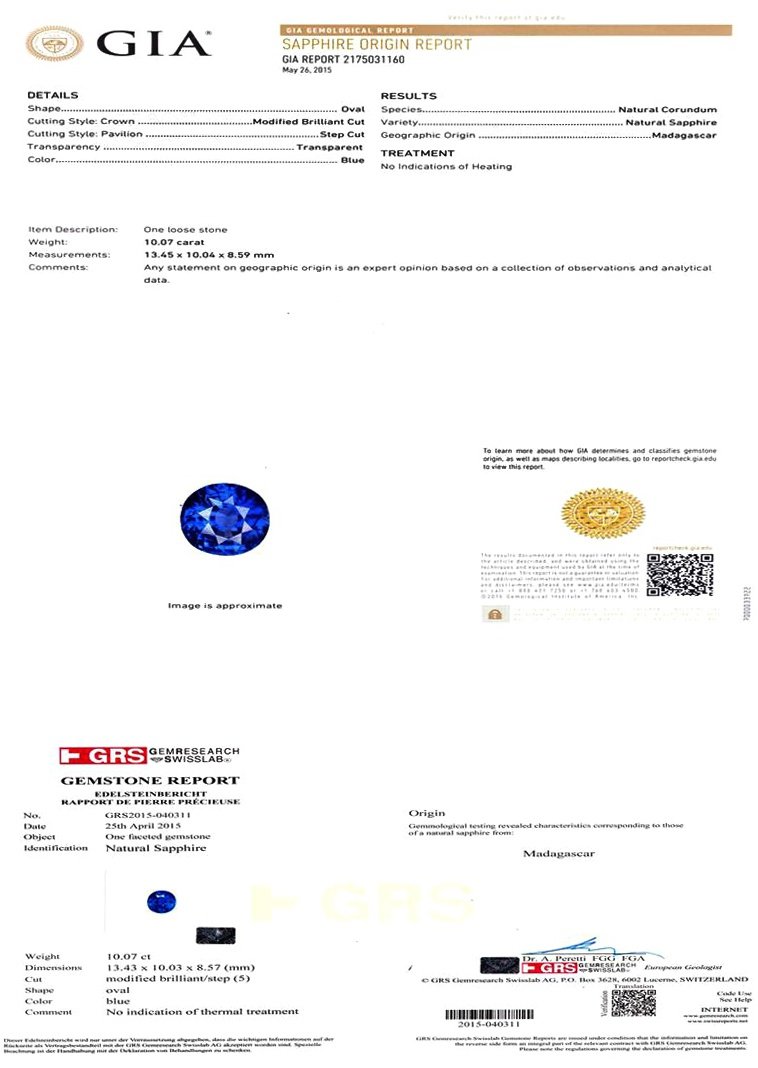 Natural Untreated Blue Sapphire B6194 Certification 3
