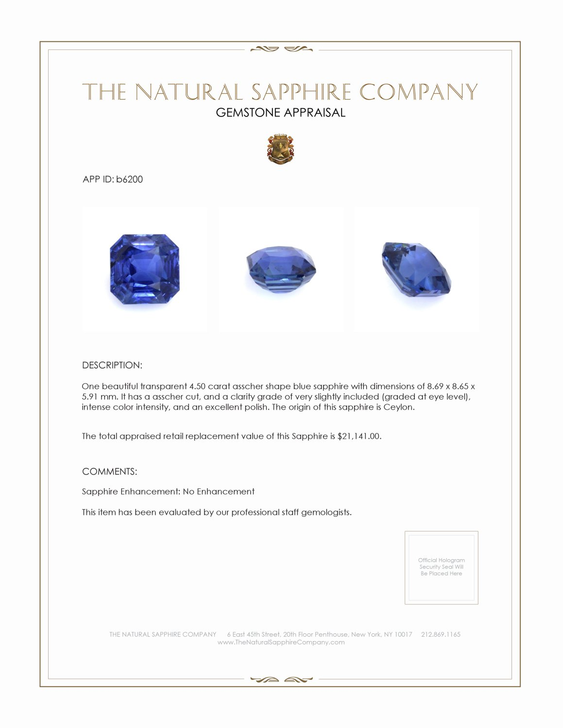 Natural Untreated Blue Sapphire B6200 Certification