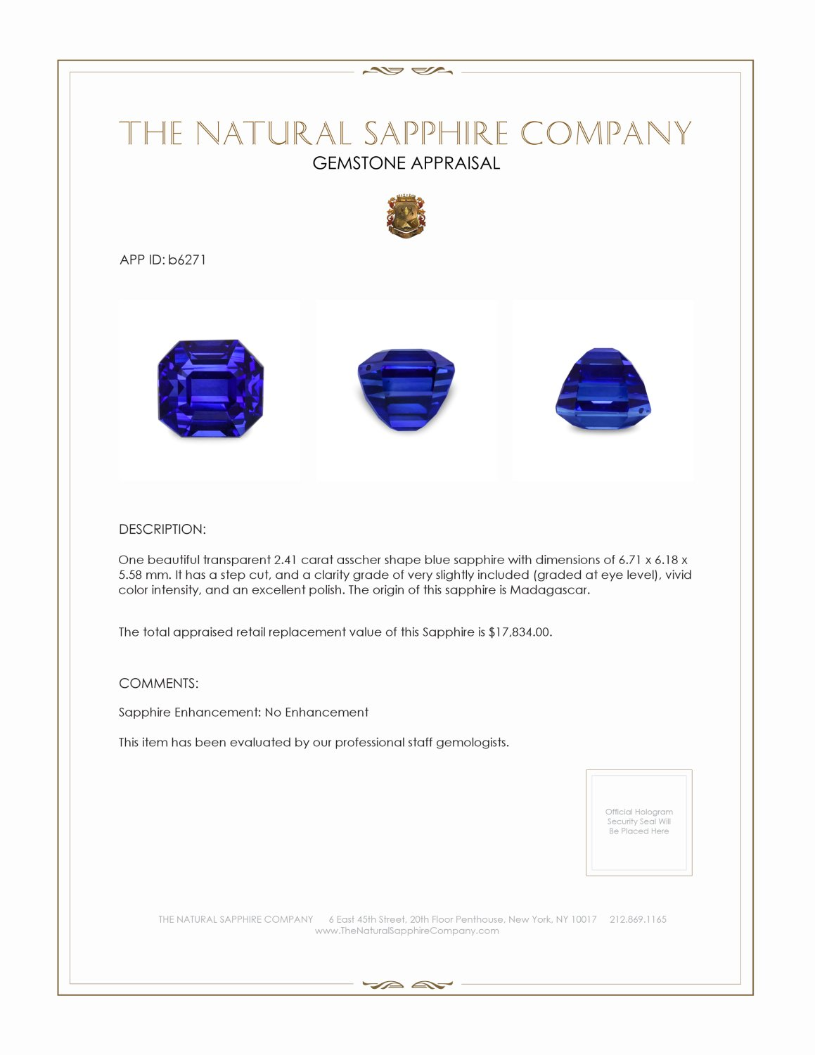 Natural Untreated Blue Sapphire B6271 Certification