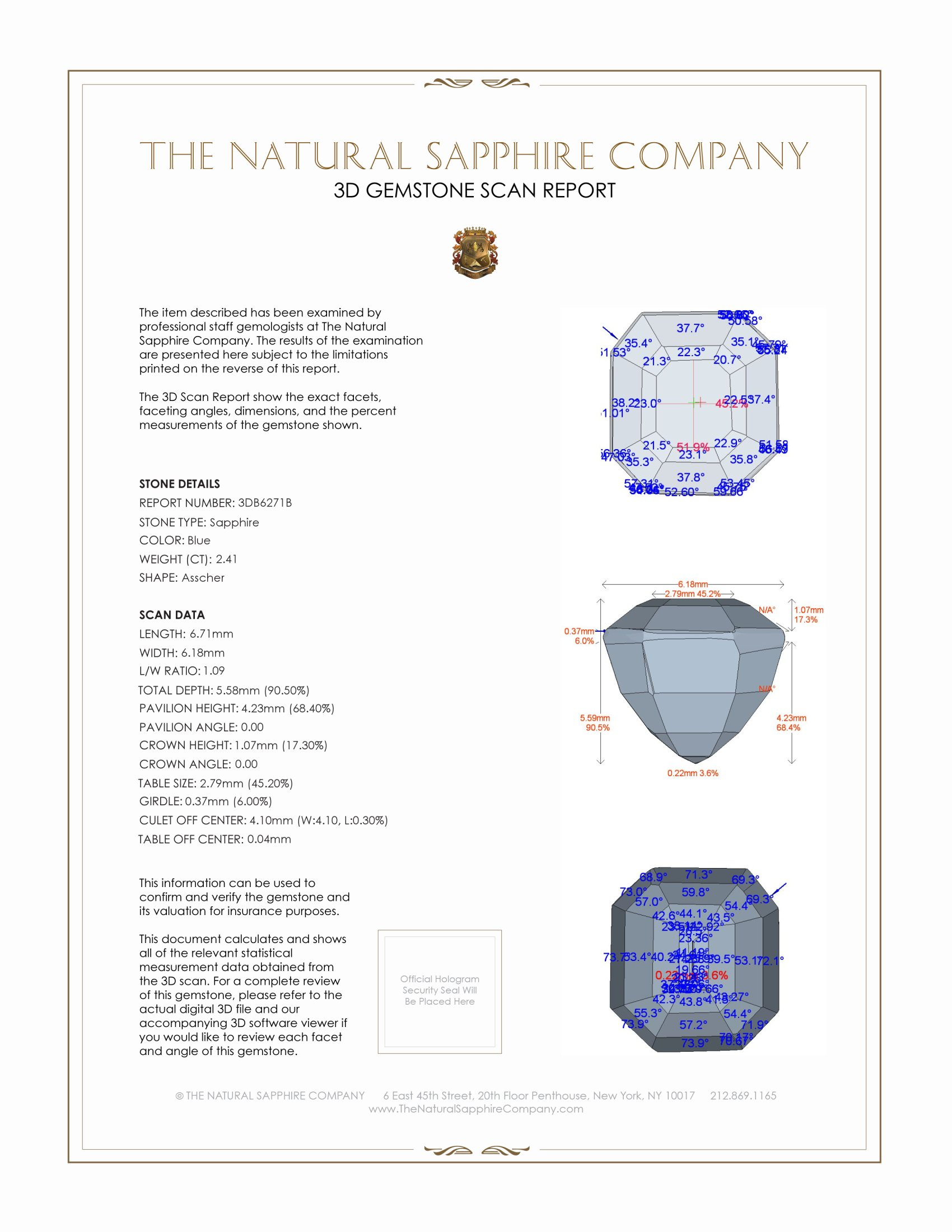 Natural Untreated Blue Sapphire B6271 Certification 2
