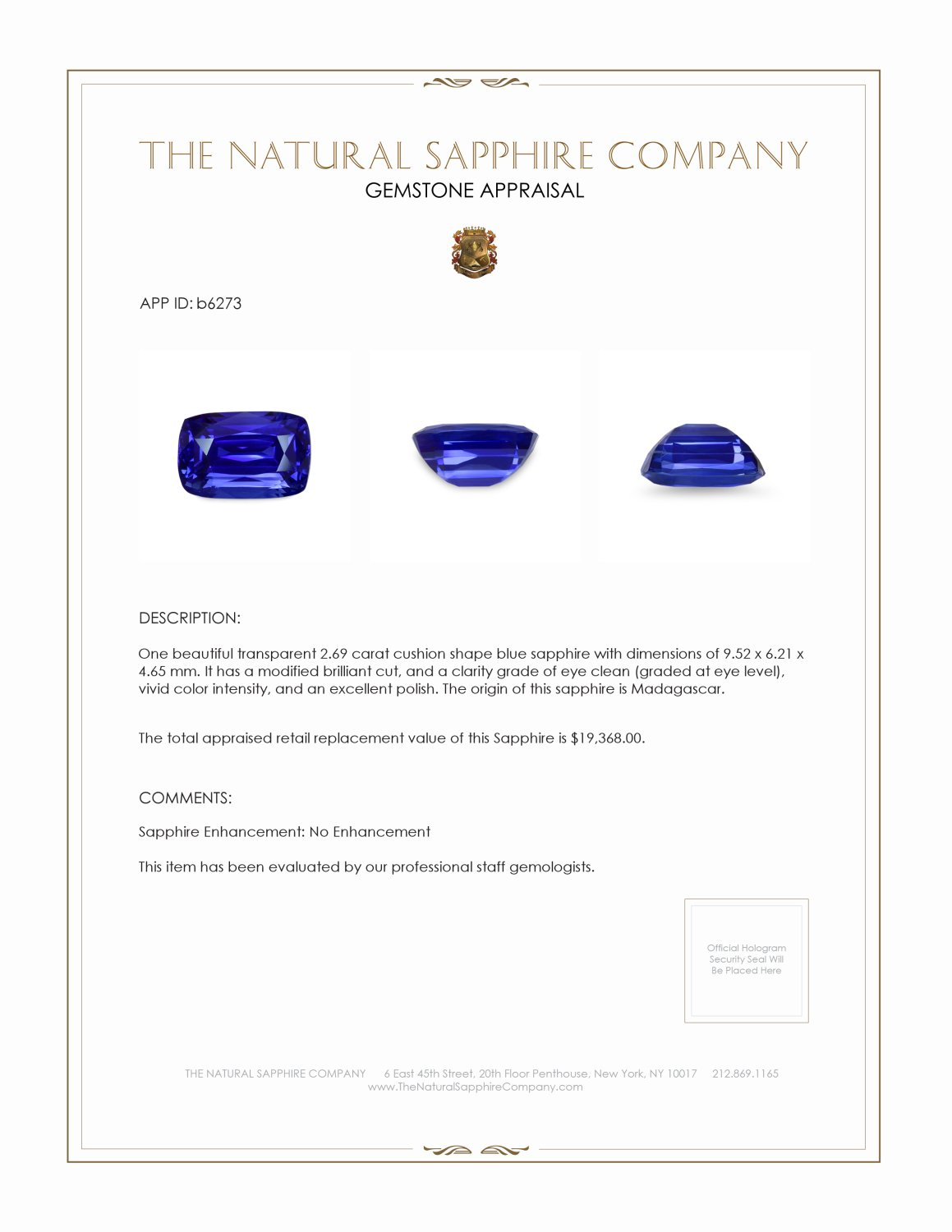 Natural Untreated Blue Sapphire B6273 Certification 4