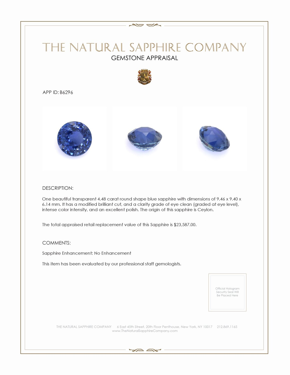 Natural Untreated Blue Sapphire B6296 Certification 4