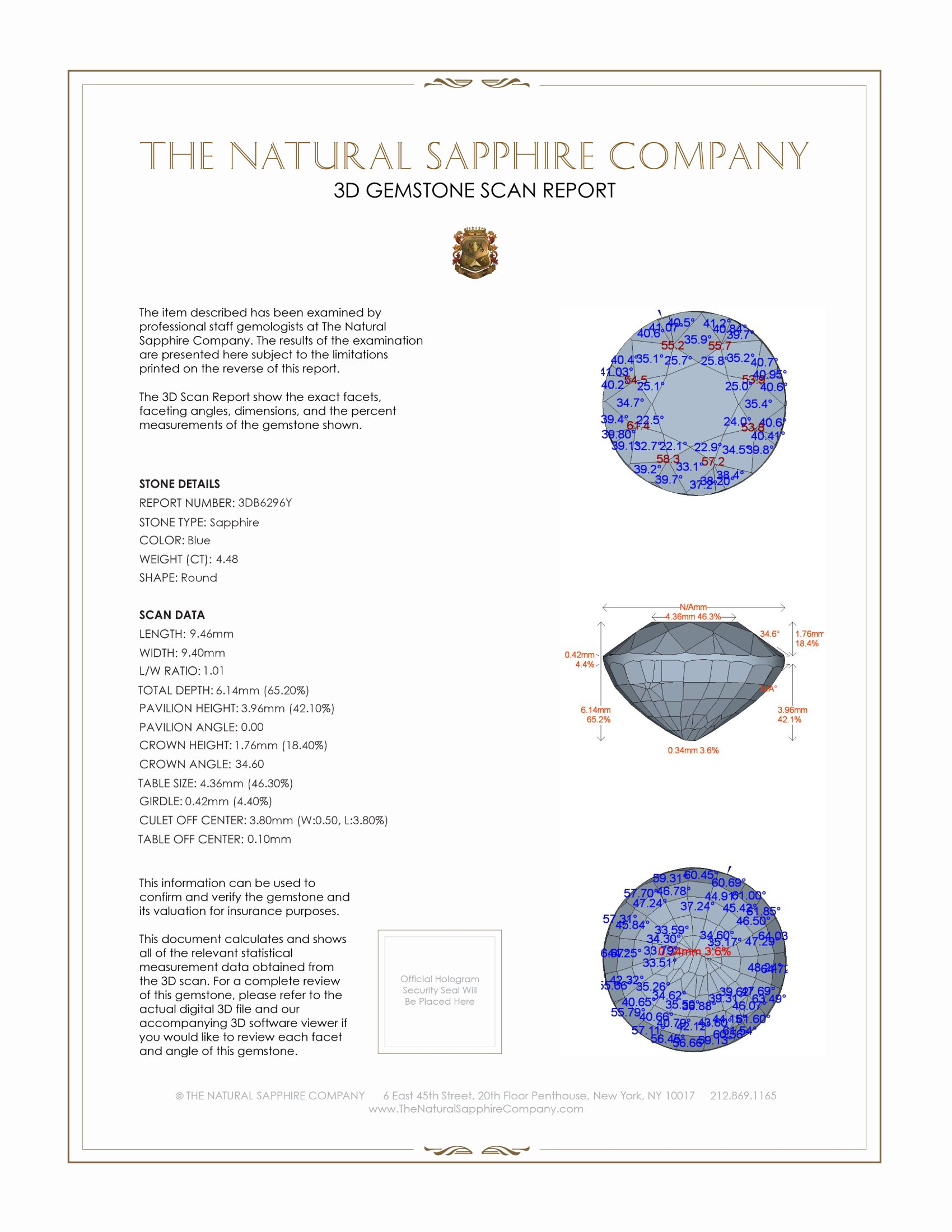 Natural Untreated Blue Sapphire B6296 Certification 2