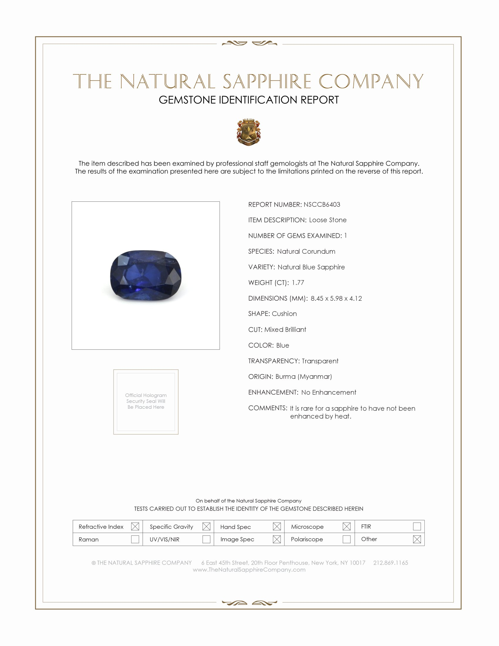 Natural Untreated Blue Sapphire B6403 Certification
