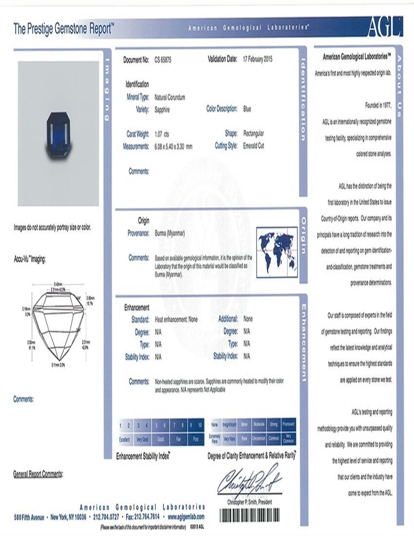 Natural Untreated Blue Sapphire B6404 Certification 3