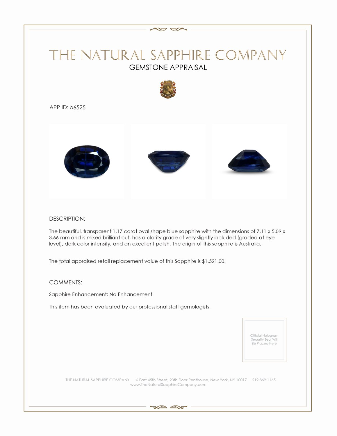 Natural Untreated Blue Sapphire B6525 Certification 3