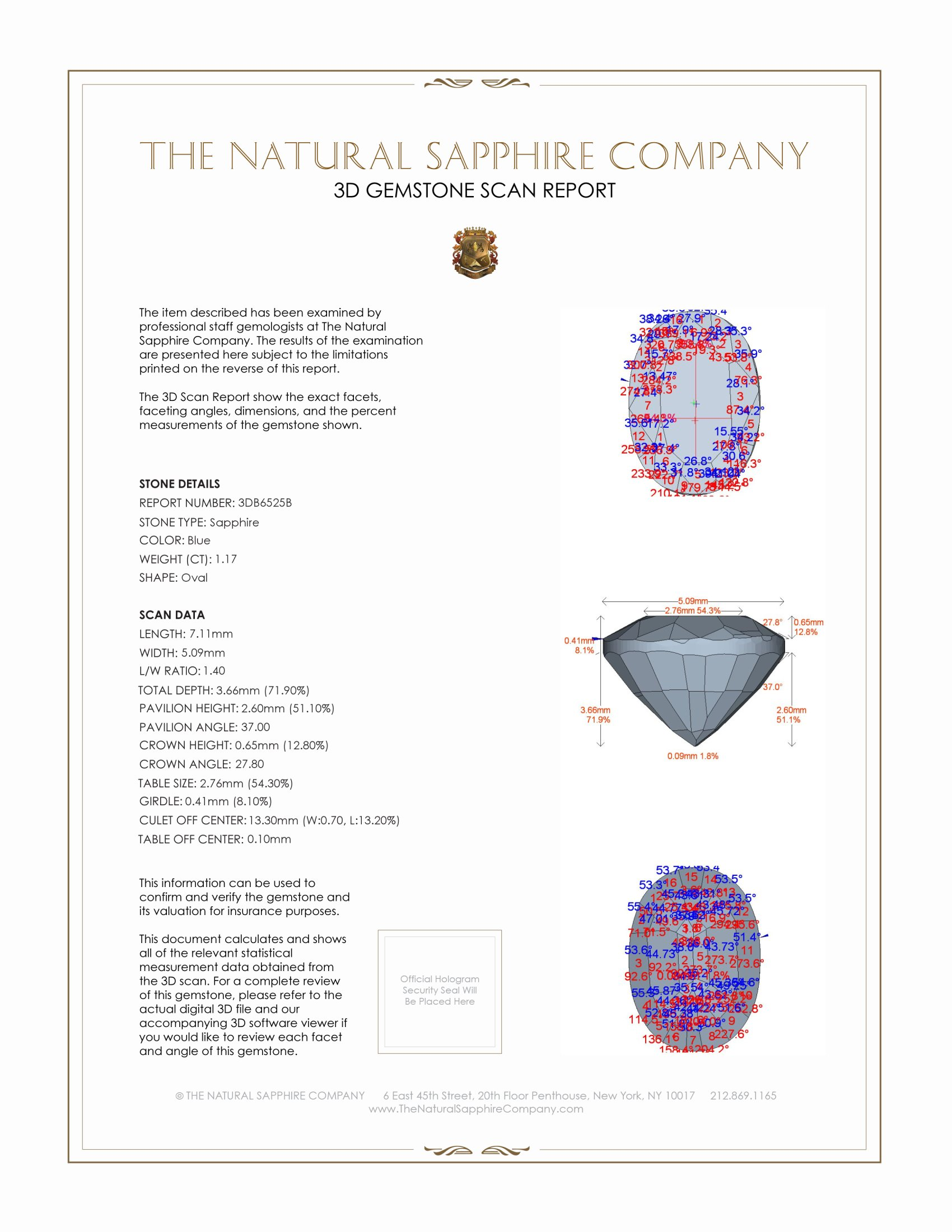 Natural Untreated Blue Sapphire B6525 Certification 2