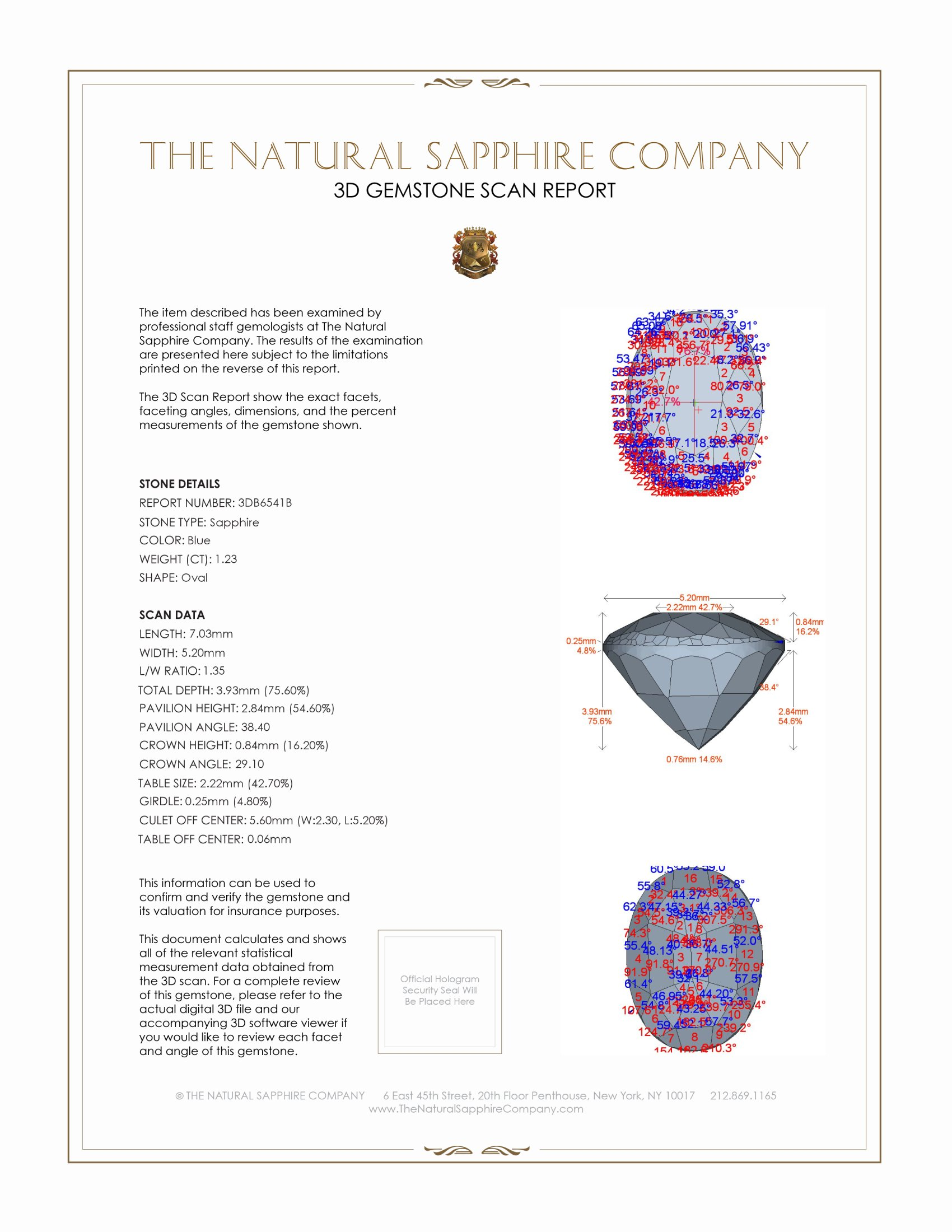 Natural Untreated Blue Sapphire B6541 Certification 2