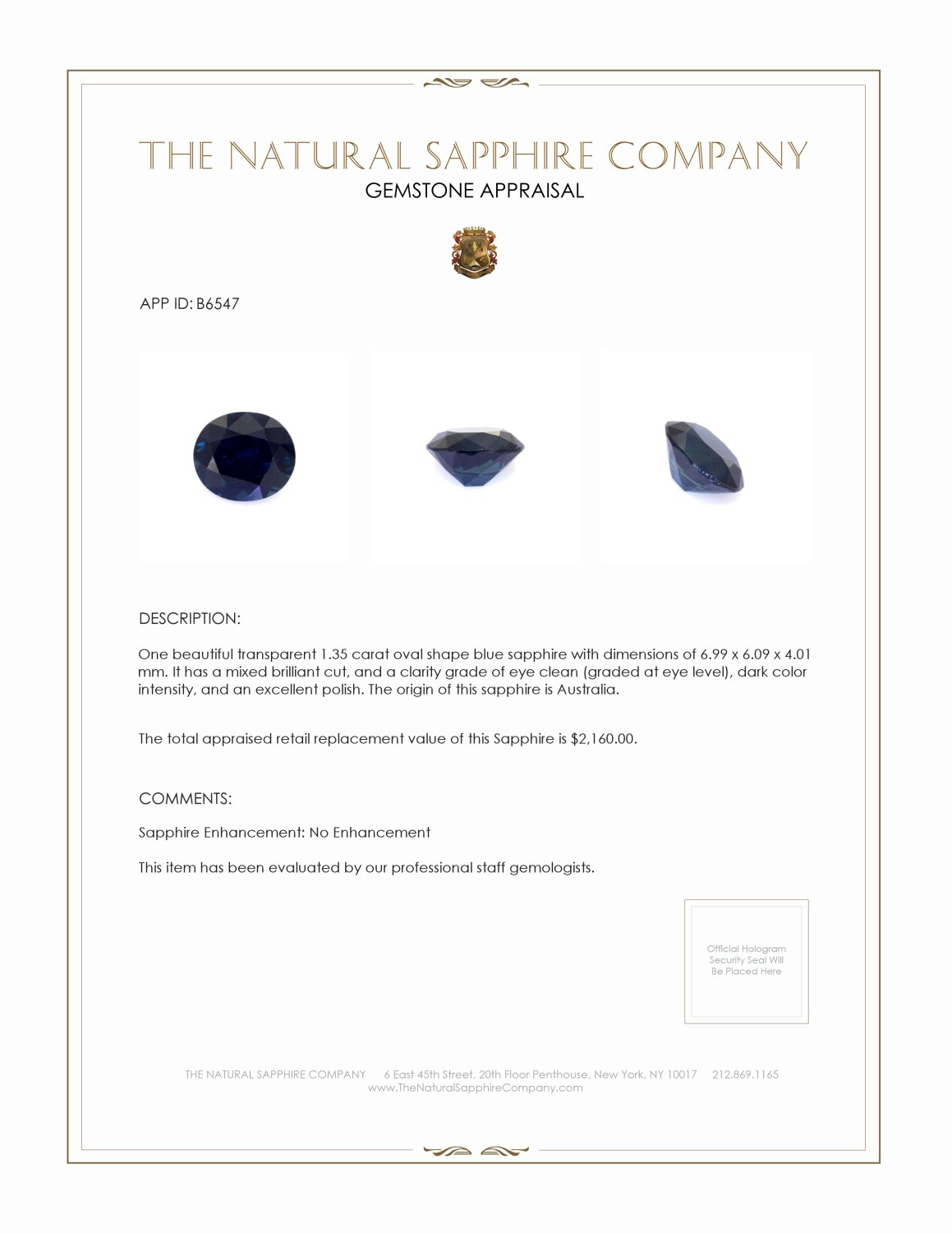 Natural Untreated Blue Sapphire B6547 Certification 3