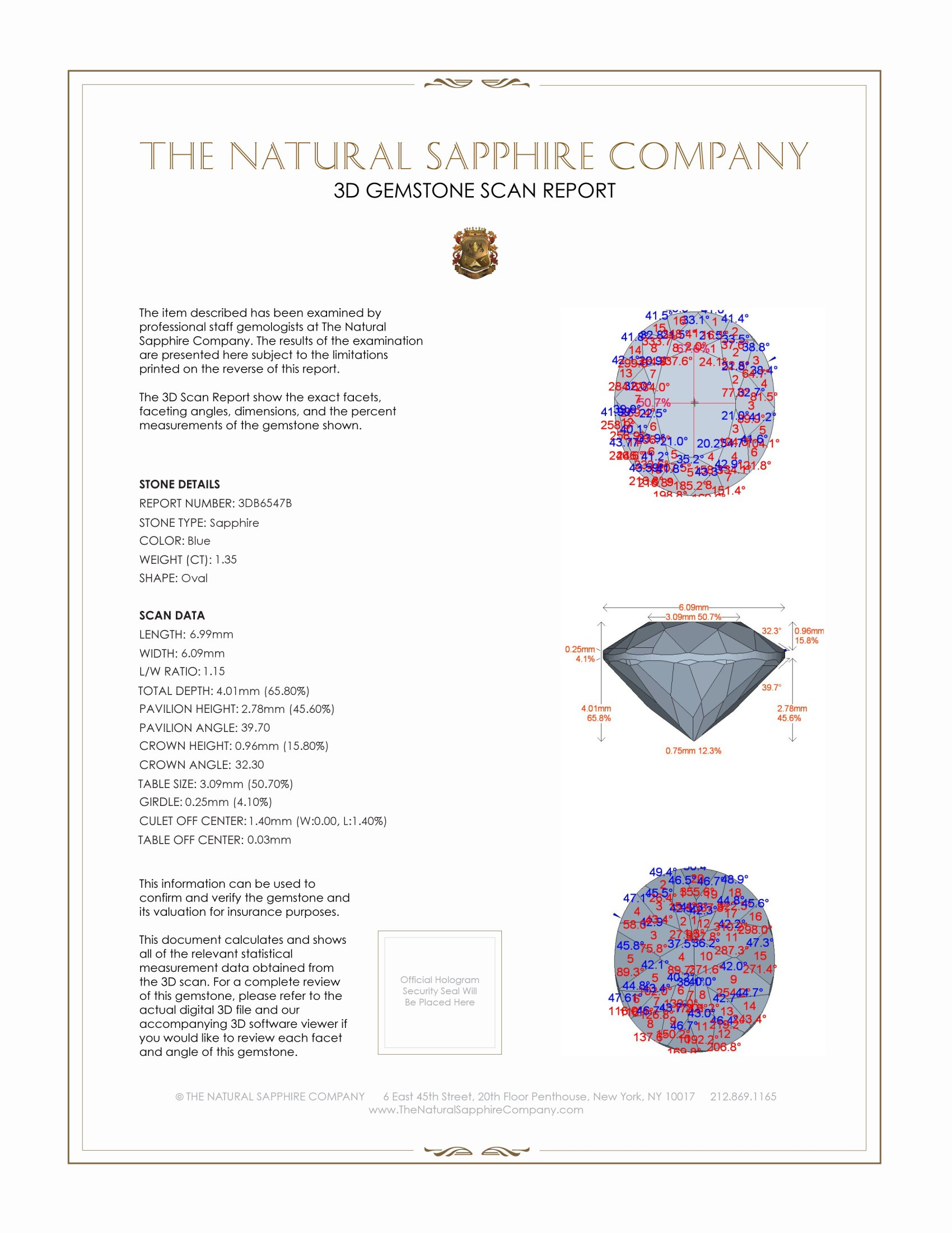 Natural Untreated Blue Sapphire B6547 Certification 2
