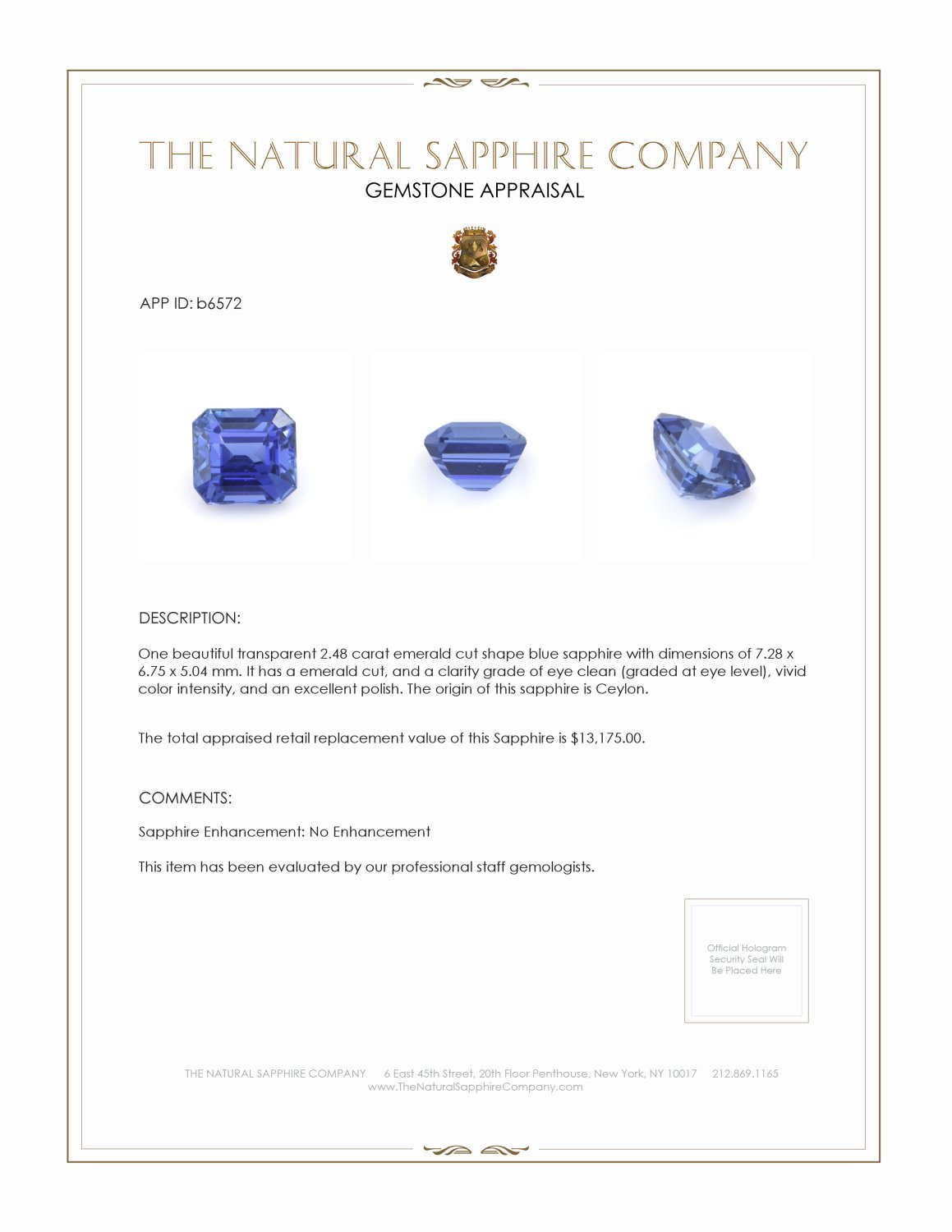 Natural Untreated Blue Sapphire B6572 Certification 4