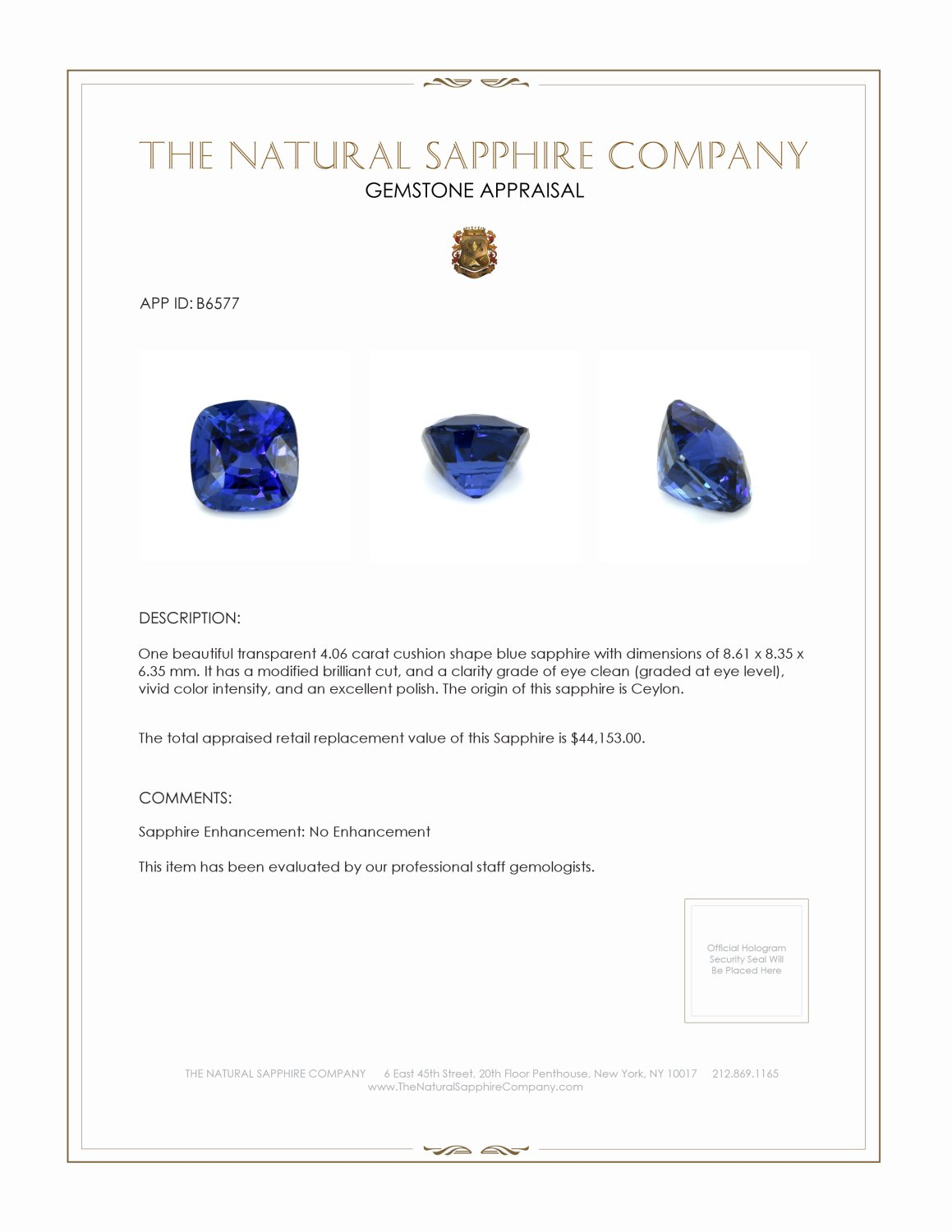 Natural Untreated Blue Sapphire B6577 Certification 4