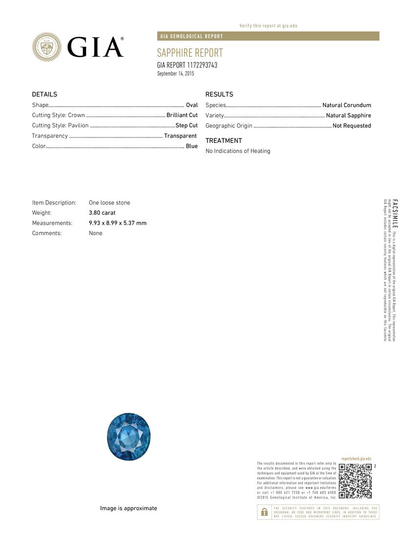 Natural Untreated Blue Sapphire B6614 Certification 3