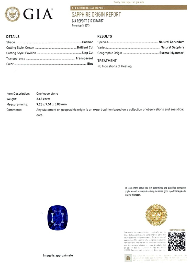 Natural Untreated Blue Sapphire B6632 Certification 3