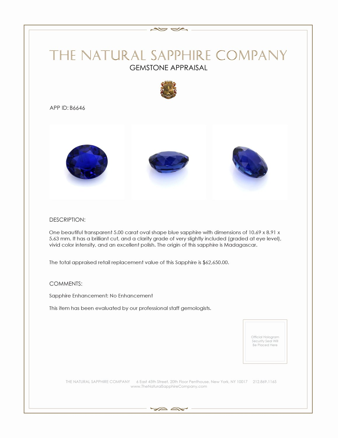 Natural Untreated Blue Sapphire B6646 Certification