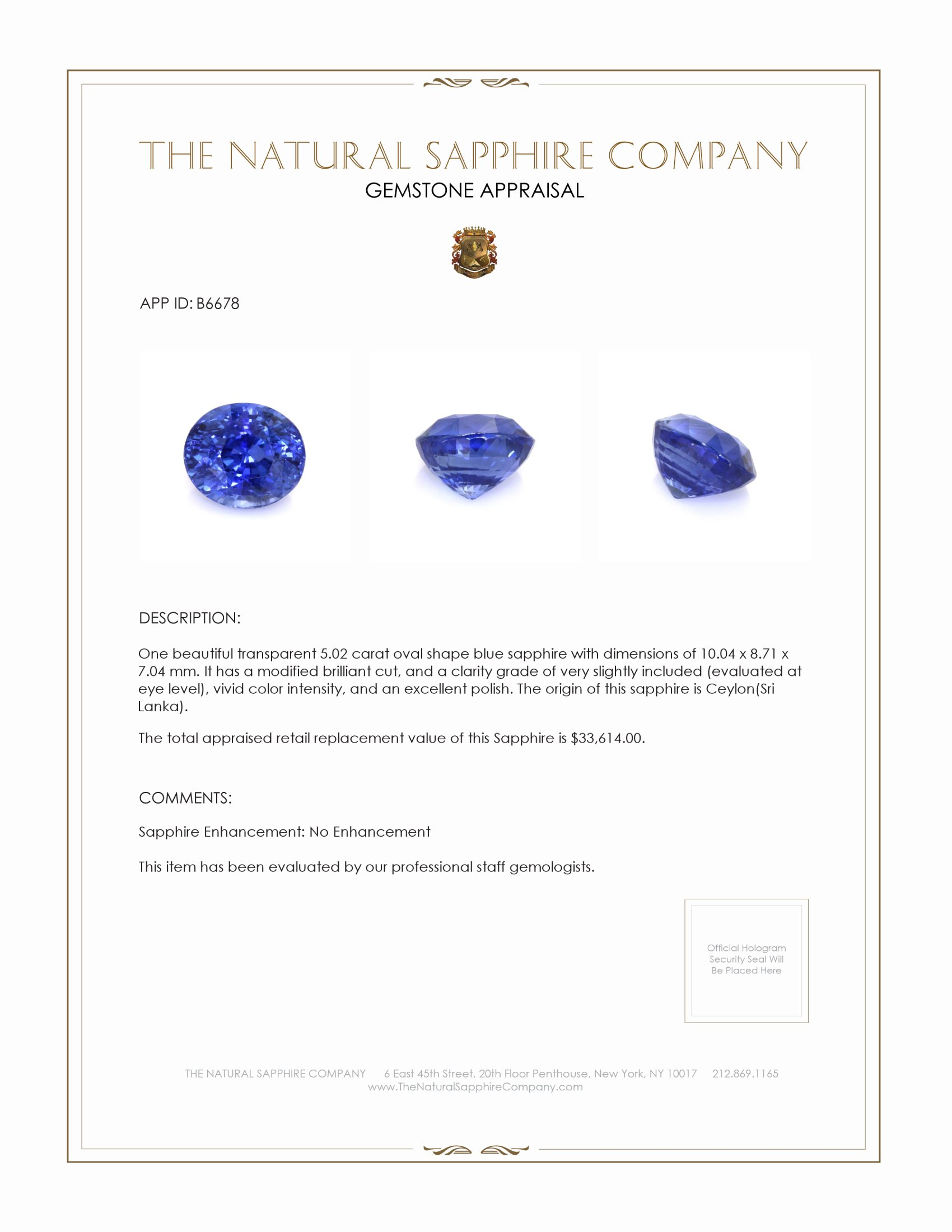 Natural Untreated Blue Sapphire B6678 Certification 4