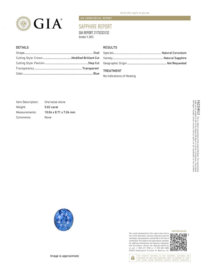 Natural Untreated Blue Sapphire B6678 Certification 3
