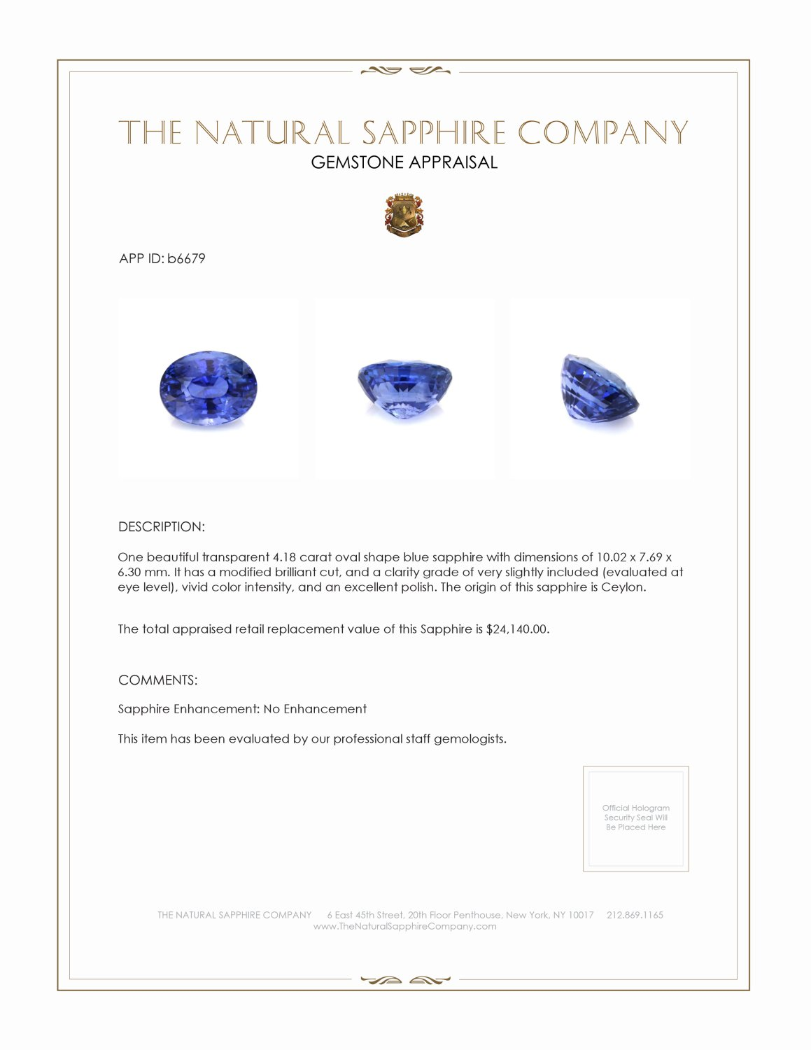 Natural Untreated Blue Sapphire B6679 Certification