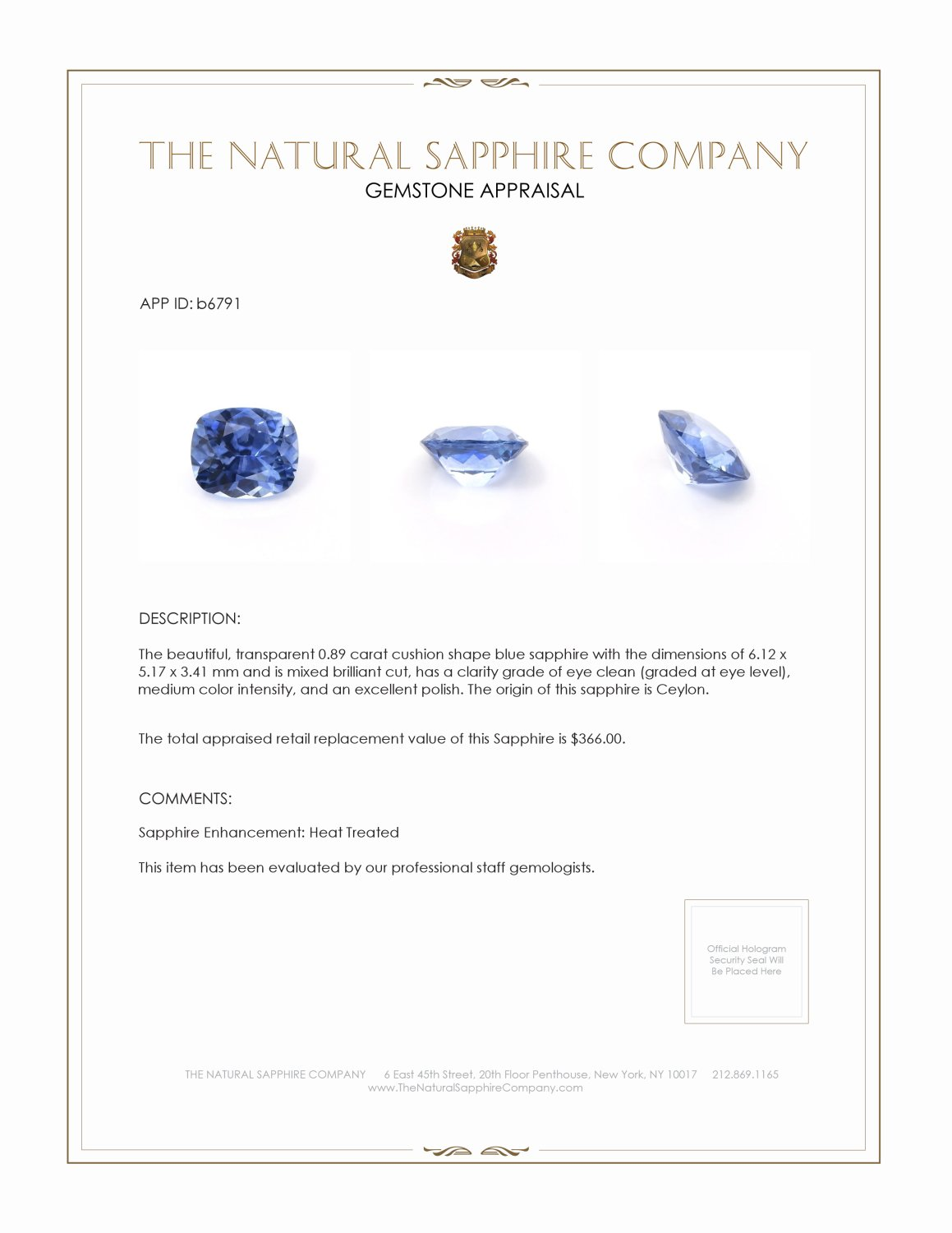 Natural Blue Sapphire B6791 Certification 3