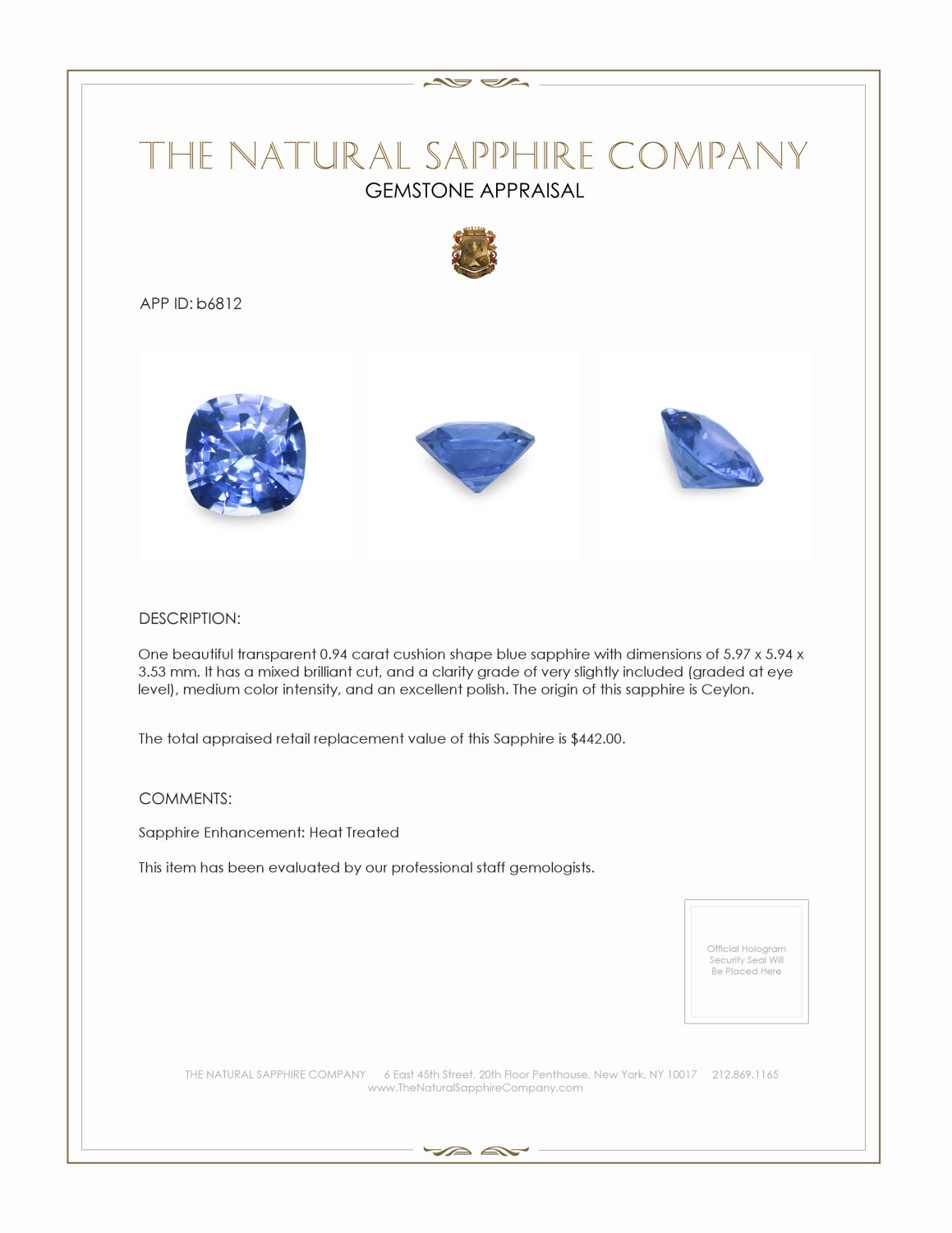 Natural Blue Sapphire B6812 Certification