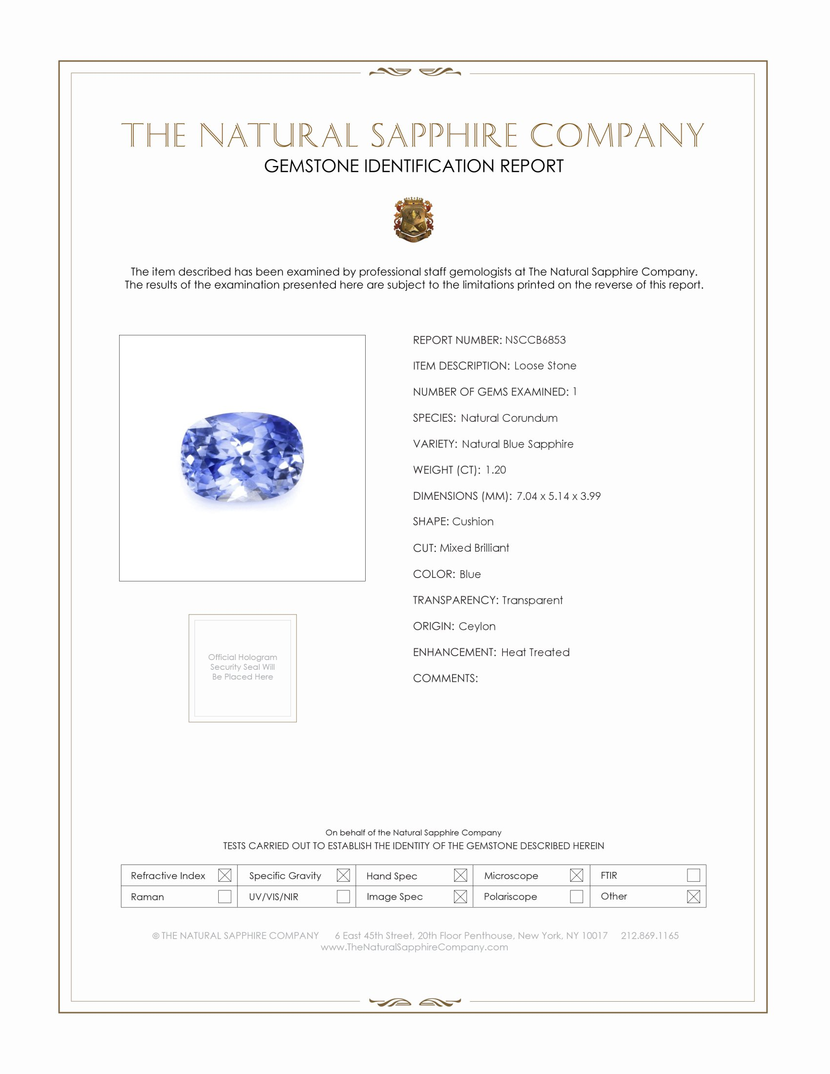Natural Blue Sapphire B6853 Certification