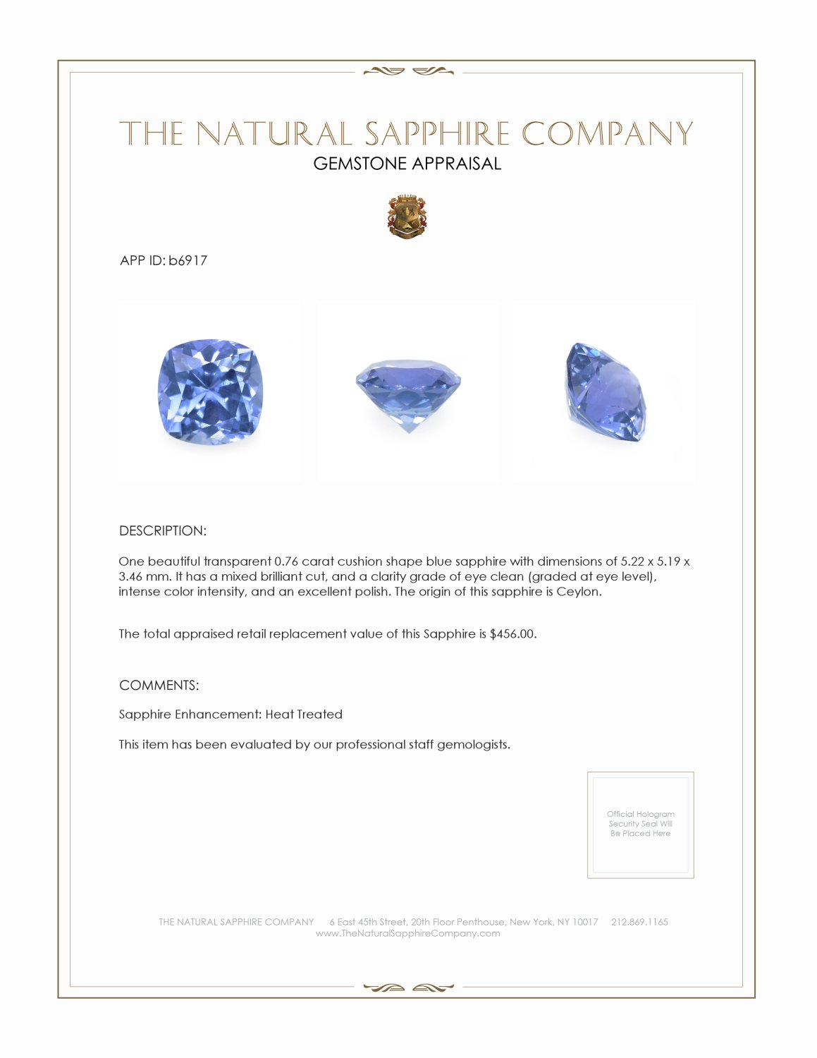Natural Blue Sapphire B6917 Certification 3