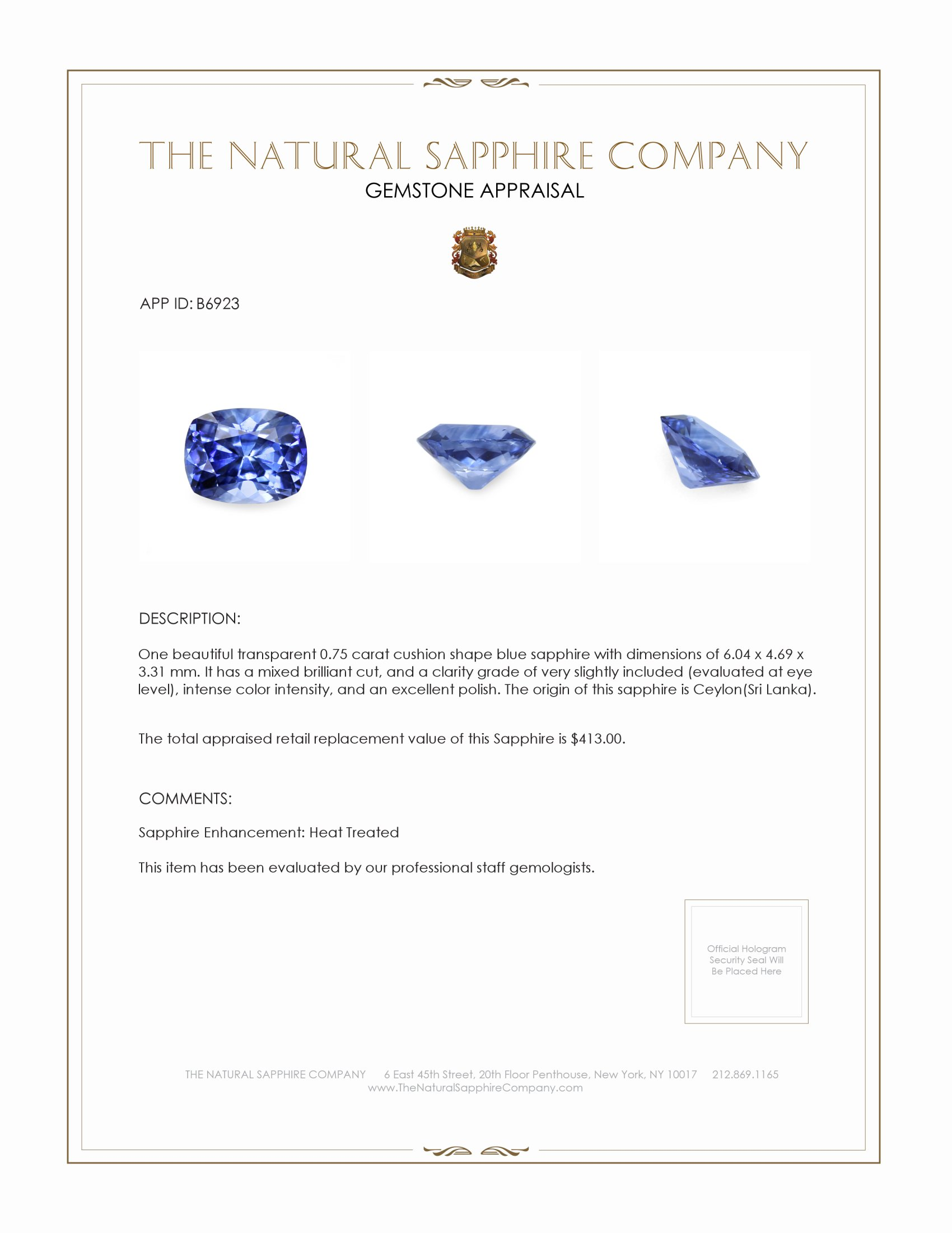 Natural Blue Sapphire B6923 Certification 3