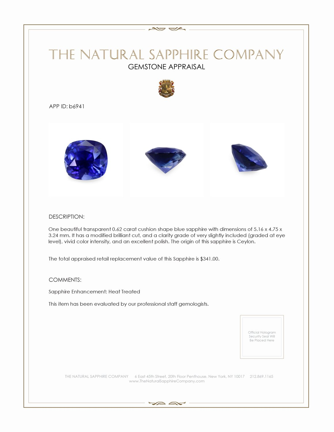 Natural Blue Sapphire B6941 Certification 4