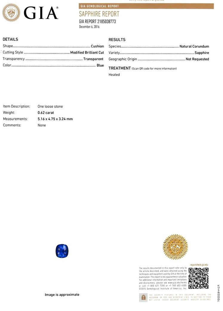 Natural Blue Sapphire B6941 Certification 3