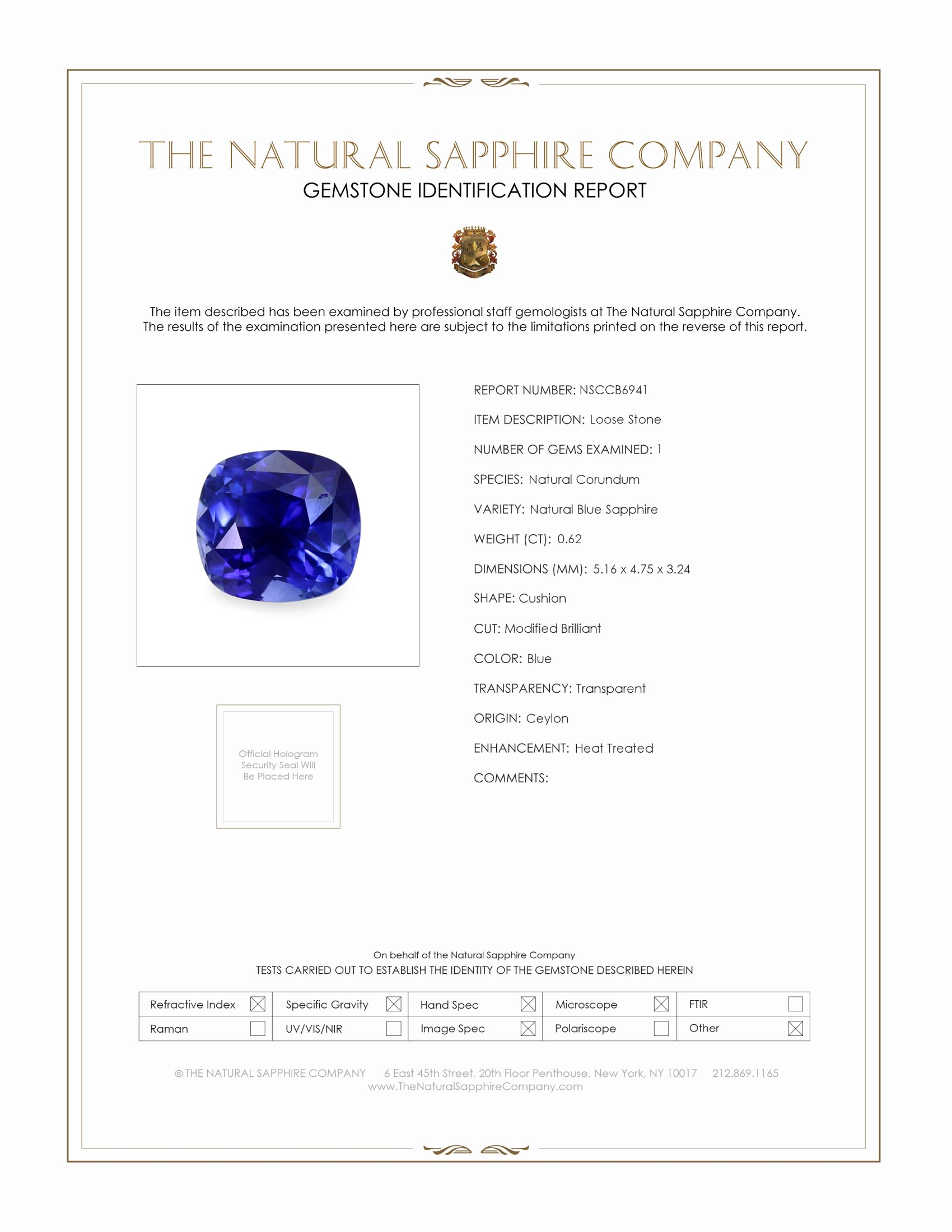 Natural Blue Sapphire B6941 Certification